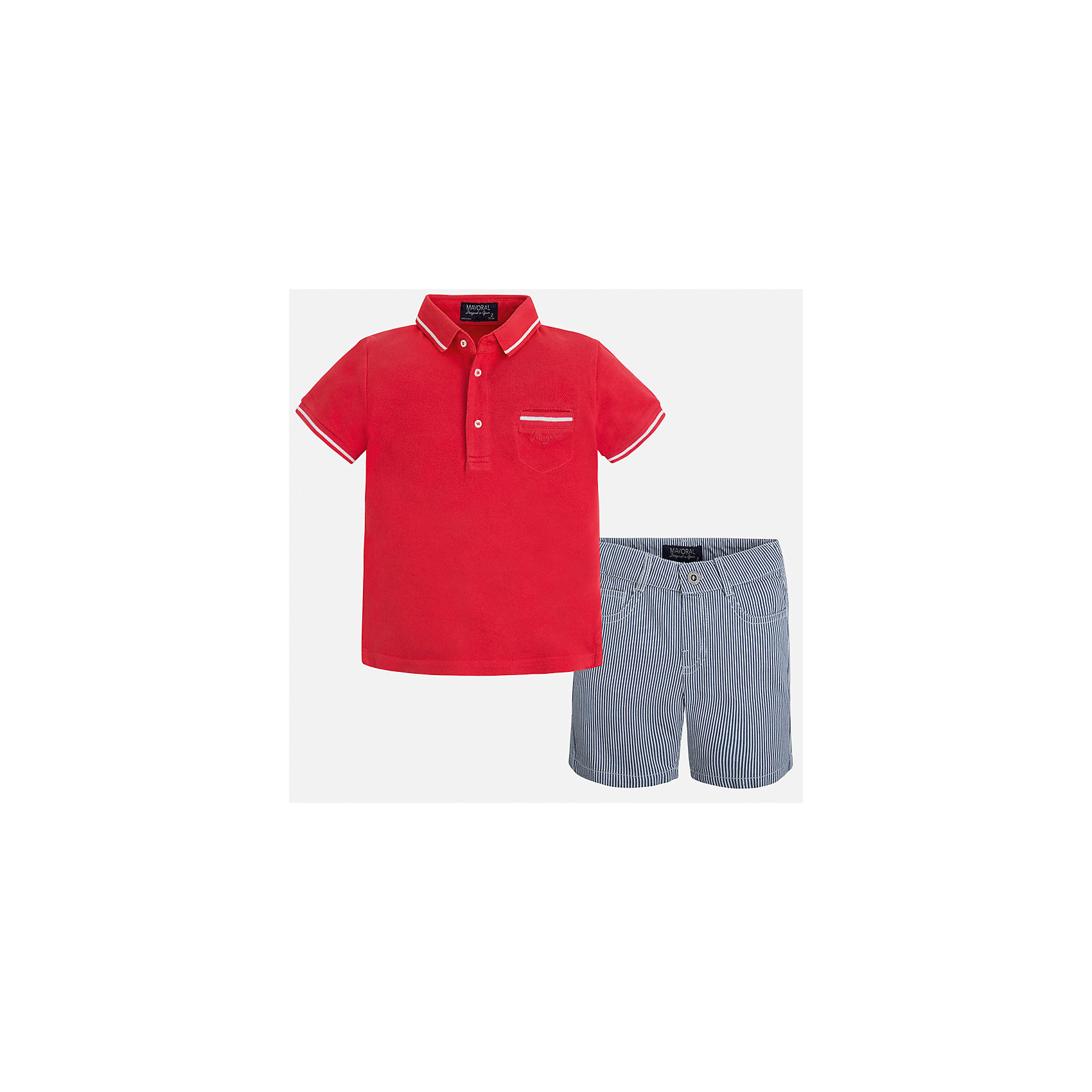 Комплект: Футболка-поло и шорты для мальчика MayoralХарактеристики товара:<br><br>• цвет: красный/серый<br>• состав: 100% хлопок<br>• комплектация: футболка, шорты<br>• футболка-поло с карманом<br>• отложной воротник, короткие рукава<br>• шорты с карманами<br>• шлевки<br>• пояс регулируется<br>• страна бренда: Испания<br><br>Красивый качественный комплект для мальчика поможет разнообразить гардероб ребенка и удобно одеться в теплую погоду. Он отлично сочетается с другими предметами. Универсальный цвет позволяет подобрать к вещам верхнюю одежду практически любой расцветки. Интересная отделка модели делает её нарядной и оригинальной. В составе материала - только натуральный хлопок, гипоаллергенный, приятный на ощупь, дышащий.<br><br>Одежда, обувь и аксессуары от испанского бренда Mayoral полюбились детям и взрослым по всему миру. Модели этой марки - стильные и удобные. Для их производства используются только безопасные, качественные материалы и фурнитура. Порадуйте ребенка модными и красивыми вещами от Mayoral! <br><br>Комплект для мальчика от испанского бренда Mayoral (Майорал) можно купить в нашем интернет-магазине.<br><br>Ширина мм: 191<br>Глубина мм: 10<br>Высота мм: 175<br>Вес г: 273<br>Цвет: красный<br>Возраст от месяцев: 24<br>Возраст до месяцев: 36<br>Пол: Мужской<br>Возраст: Детский<br>Размер: 98,92,104,134,128,122,116,110<br>SKU: 5272765