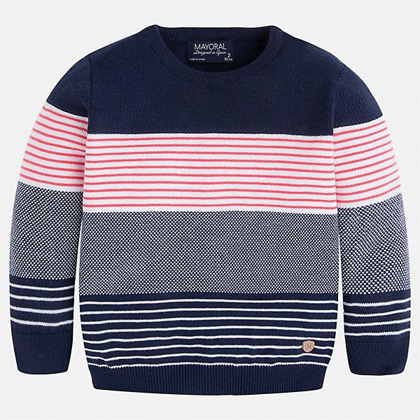 Свитер для мальчика MayoralСвитера и кардиганы<br>Характеристики товара:<br><br>• цвет: синий/серый/розовый<br>• состав: 100% хлопок<br>• рукава длинные <br>• вязаный узор<br>• округлая горловина<br>• манжеты<br>• страна бренда: Испания<br><br>Удобный и красивый свитер для мальчика поможет разнообразить гардероб ребенка и обеспечить тепло. Он отлично сочетается и с джинсами, и с брюками. Универсальный цвет позволяет подобрать к вещи низ различных расцветок. Интересная отделка модели делает её нарядной и оригинальной. В составе материала - только натуральный хлопок, гипоаллергенный, приятный на ощупь, дышащий.<br><br>Одежда, обувь и аксессуары от испанского бренда Mayoral полюбились детям и взрослым по всему миру. Модели этой марки - стильные и удобные. Для их производства используются только безопасные, качественные материалы и фурнитура. Порадуйте ребенка модными и красивыми вещами от Mayoral! <br><br>Свитер для мальчика от испанского бренда Mayoral (Майорал) можно купить в нашем интернет-магазине.<br><br>Ширина мм: 190<br>Глубина мм: 74<br>Высота мм: 229<br>Вес г: 236<br>Цвет: розовый<br>Возраст от месяцев: 36<br>Возраст до месяцев: 48<br>Пол: Мужской<br>Возраст: Детский<br>Размер: 134,92,98,110,116,104,122,128<br>SKU: 5272774