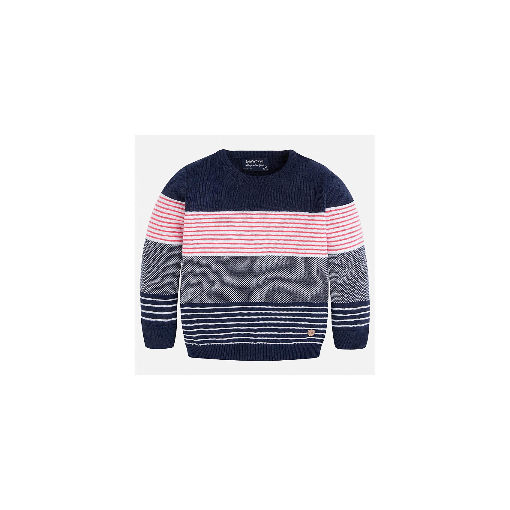 Свитер для мальчика MayoralСвитера и кардиганы<br>Характеристики товара:<br><br>• цвет: синий/серый/розовый<br>• состав: 100% хлопок<br>• рукава длинные <br>• вязаный узор<br>• округлая горловина<br>• манжеты<br>• страна бренда: Испания<br><br>Удобный и красивый свитер для мальчика поможет разнообразить гардероб ребенка и обеспечить тепло. Он отлично сочетается и с джинсами, и с брюками. Универсальный цвет позволяет подобрать к вещи низ различных расцветок. Интересная отделка модели делает её нарядной и оригинальной. В составе материала - только натуральный хлопок, гипоаллергенный, приятный на ощупь, дышащий.<br><br>Одежда, обувь и аксессуары от испанского бренда Mayoral полюбились детям и взрослым по всему миру. Модели этой марки - стильные и удобные. Для их производства используются только безопасные, качественные материалы и фурнитура. Порадуйте ребенка модными и красивыми вещами от Mayoral! <br><br>Свитер для мальчика от испанского бренда Mayoral (Майорал) можно купить в нашем интернет-магазине.<br><br>Ширина мм: 190<br>Глубина мм: 74<br>Высота мм: 229<br>Вес г: 236<br>Цвет: розовый<br>Возраст от месяцев: 48<br>Возраст до месяцев: 60<br>Пол: Мужской<br>Возраст: Детский<br>Размер: 110,104,98,92,134,128,122,116<br>SKU: 5272774