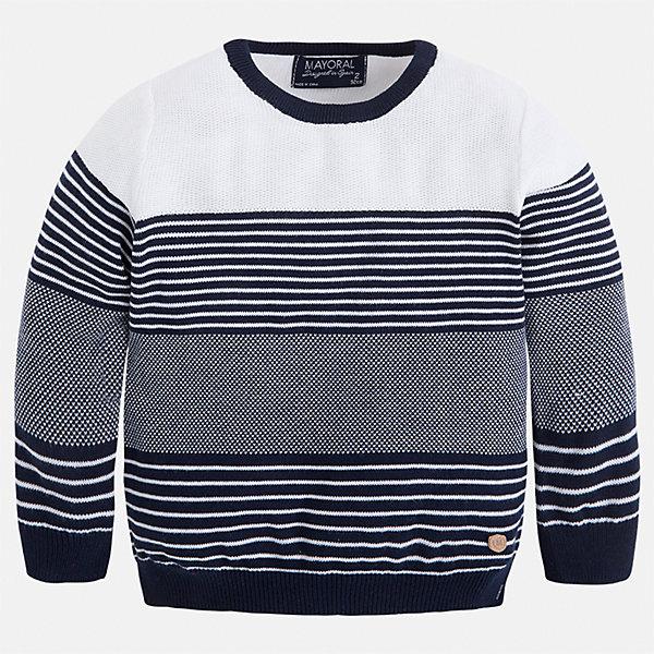 Свитер для мальчика MayoralСвитера и кардиганы<br>Характеристики товара:<br><br>• цвет: синий/белый<br>• состав: 100% хлопок<br>• рукава длинные <br>• вязаный узор<br>• округлая горловина<br>• манжеты<br>• страна бренда: Испания<br><br>Удобный и красивый свитер для мальчика поможет разнообразить гардероб ребенка и обеспечить тепло. Он отлично сочетается и с джинсами, и с брюками. Универсальный цвет позволяет подобрать к вещи низ различных расцветок. Интересная отделка модели делает её нарядной и оригинальной. В составе материала - только натуральный хлопок, гипоаллергенный, приятный на ощупь, дышащий.<br><br>Одежда, обувь и аксессуары от испанского бренда Mayoral полюбились детям и взрослым по всему миру. Модели этой марки - стильные и удобные. Для их производства используются только безопасные, качественные материалы и фурнитура. Порадуйте ребенка модными и красивыми вещами от Mayoral! <br><br>Свитер для мальчика от испанского бренда Mayoral (Майорал) можно купить в нашем интернет-магазине.<br>Ширина мм: 190; Глубина мм: 74; Высота мм: 229; Вес г: 236; Цвет: синий; Возраст от месяцев: 18; Возраст до месяцев: 24; Пол: Мужской; Возраст: Детский; Размер: 92,98,104,110,116,122,128,134; SKU: 5272783;