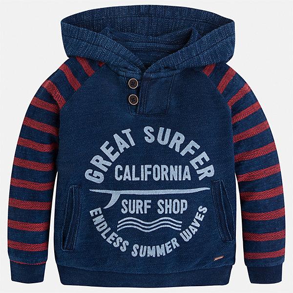 Толстовка для мальчика MayoralТолстовки<br>Характеристики товара:<br><br>• цвет: красный/синий<br>• состав: 74% хлопок, 26% полиэстер<br>• рукава длинные <br>• принт<br>• карманы<br>• капюшон<br>• страна бренда: Испания<br><br>Удобный и красивый свитер для мальчика поможет разнообразить гардероб ребенка и обеспечить тепло. Он отлично сочетается и с джинсами, и с брюками. Универсальный цвет позволяет подобрать к вещи низ различных расцветок. Интересная отделка модели делает её нарядной и оригинальной. В составе материала - натуральный хлопок, гипоаллергенный, приятный на ощупь, дышащий.<br><br>Одежда, обувь и аксессуары от испанского бренда Mayoral полюбились детям и взрослым по всему миру. Модели этой марки - стильные и удобные. Для их производства используются только безопасные, качественные материалы и фурнитура. Порадуйте ребенка модными и красивыми вещами от Mayoral! <br><br>Свитер для мальчика от испанского бренда Mayoral (Майорал) можно купить в нашем интернет-магазине.<br><br>Ширина мм: 190<br>Глубина мм: 74<br>Высота мм: 229<br>Вес г: 236<br>Цвет: синий<br>Возраст от месяцев: 96<br>Возраст до месяцев: 108<br>Пол: Мужской<br>Возраст: Детский<br>Размер: 134,92,128,122,116,110,104,98<br>SKU: 5272828