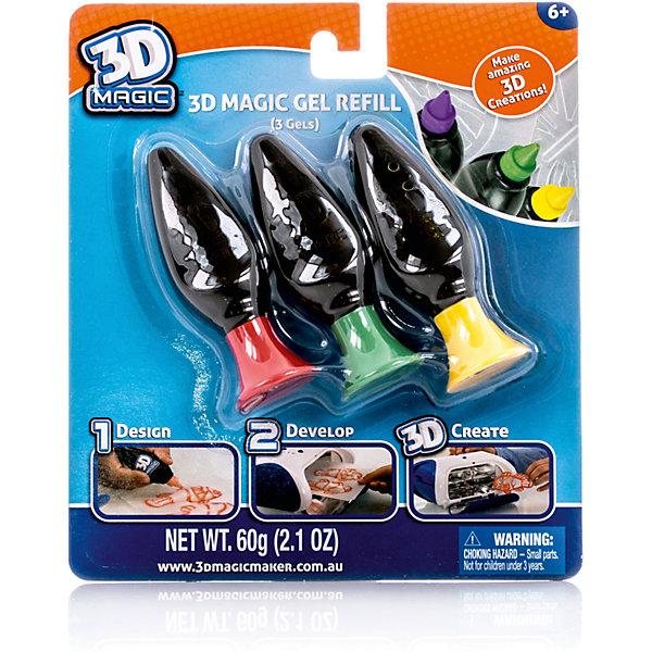 Набор гелей 3D Magic для создания объемных моделей,  3 шт., (цвет в ассортименте)Наборы 3D ручек<br>Характеристики товара:<br><br>• материал: пластик<br>• вес: 150 г<br>• размер упаковки: 21х16х3 см<br>• комплектация: 3 тюбика<br>• упаковка: блистер<br>• создания объемных моделей<br><br>3D-моделирование - это современный и очень увлекательный вид творчества! С помощью него можно создать множество различных фигурок. Этот гель - качественный и удобный, который поможет ребенку выразить свои творческие способности. Объемная фигурка получается из безопасного материала, очень красиво смотрится. <br>Изделие произведено из качественных и безопасных для ребенка материалов. Работа с таким гелем помогает развить мышление ребенка, аккуратность, внимательность, мелкую моторику и воображение. Полезный подарок для тех, у кого уже есть специальная 3Д-лампа!<br><br>Набор гелей 3D Magic для создания объемных моделей, 3 шт. (цвет в ассортименте )можно купить в нашем интернет-магазине.<br><br>Ширина мм: 180<br>Глубина мм: 210<br>Высота мм: 20<br>Вес г: 147<br>Возраст от месяцев: 96<br>Возраст до месяцев: 168<br>Пол: Унисекс<br>Возраст: Детский<br>SKU: 5273978