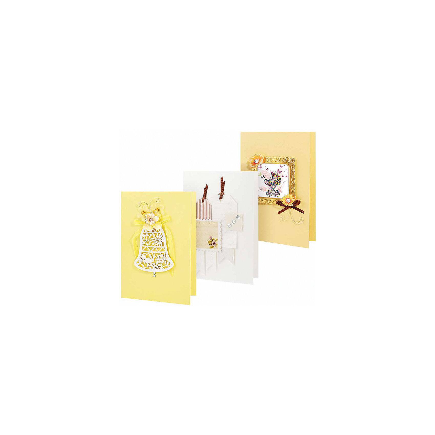 Набор для создания 3-х открыток СолнечныйХарактеристики товара:<br><br>• материал: бумага, картон, стразы<br>• размер упаковки: 14 см<br>• упаковка: картон<br>• комплектация: детали для создания трех открыток<br>• для творчества<br>• возраст: от 6 лет<br>• страна бренда: Российская Федерация<br>• страна производства: Китай<br><br>Развить творческие способности ребенка и весело провести время поможет этот комплект! Набор состоит из 3 открыток и декора, с их помощью можно сделать красивые аксессуары для праздника. Готовое изделие станет отличным подарком от ребенка близким! <br>Материалы качественно выполнены, сделаны из безопасного для детей сырья. Творчество помогает детям лучше развить мелкую моторику, память, внимание, аккуратность и мышление. Детям полезно такое занятие - они развивают свои способности и начинают верить в свои силы! Отличный подарок для ребенка.<br><br>Набор для создания 3-х открыток Солнечный от бренда Белоснежка можно купить в нашем интернет-магазине.<br><br>Ширина мм: 270<br>Глубина мм: 150<br>Высота мм: 60<br>Вес г: 190<br>Возраст от месяцев: 72<br>Возраст до месяцев: 2147483647<br>Пол: Женский<br>Возраст: Детский<br>SKU: 5275919