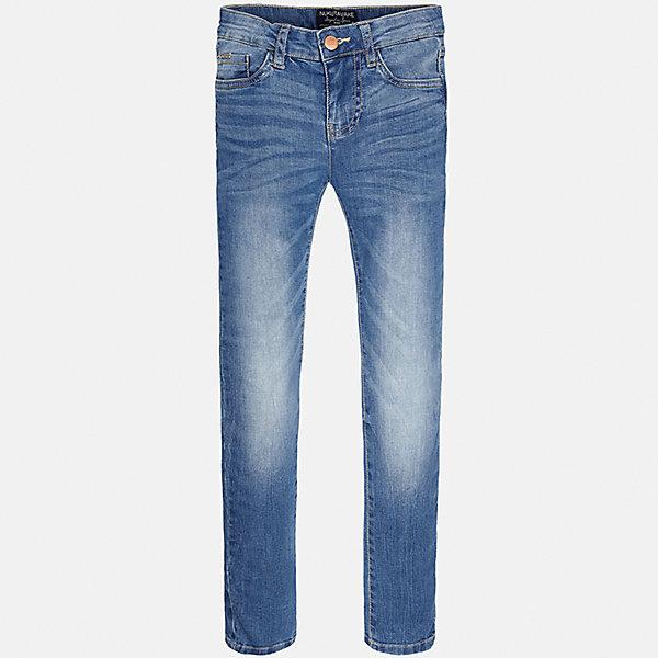 Джинсы для мальчика MayoralДжинсовая одежда<br>Характеристики товара:<br><br>• цвет: синий<br>• состав: 99% хлопок, 1% эластан<br>• имитация потертостей<br>• шлевки<br>• карманы<br>• пояс с регулировкой объема<br>• классический силуэт<br>• страна бренда: Испания<br><br>Стильные удобные джинсы для мальчика смогут стать базовой вещью в гардеробе ребенка. Они отлично сочетаются с майками, футболками, рубашками и т.д. Универсальный крой и цвет позволяет подобрать к вещи верх разных расцветок. Практичное и стильное изделие! В составе материала - натуральный хлопок, гипоаллергенный, приятный на ощупь, дышащий.<br><br>Одежда, обувь и аксессуары от испанского бренда Mayoral полюбились детям и взрослым по всему миру. Модели этой марки - стильные и удобные. Для их производства используются только безопасные, качественные материалы и фурнитура. Порадуйте ребенка модными и красивыми вещами от Mayoral! <br><br>Джинсы для мальчика от испанского бренда Mayoral (Майорал) можно купить в нашем интернет-магазине.<br><br>Ширина мм: 215<br>Глубина мм: 88<br>Высота мм: 191<br>Вес г: 336<br>Цвет: синий<br>Возраст от месяцев: 120<br>Возраст до месяцев: 132<br>Пол: Мужской<br>Возраст: Детский<br>Размер: 152,128/134,140,158,164,170<br>SKU: 5277641