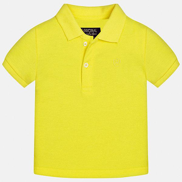 Футболка-поло для мальчика MayoralФутболки, поло и топы<br>Характеристики товара:<br><br>• цвет: желтый<br>• состав: 100% хлопок<br>• отложной воротник<br>• короткие рукава<br>• застежка: пуговицы<br>• вышивка на груди<br>• страна бренда: Испания<br><br>Удобная и модная футболка-поло для мальчика может стать базовой вещью в гардеробе ребенка. Она отлично сочетается с брюками, шортами, джинсами и т.д. Универсальный крой и цвет позволяет подобрать к вещи низ разных расцветок. Практичное и стильное изделие! В составе материала - только натуральный хлопок, гипоаллергенный, приятный на ощупь, дышащий.<br><br>Одежда, обувь и аксессуары от испанского бренда Mayoral полюбились детям и взрослым по всему миру. Модели этой марки - стильные и удобные. Для их производства используются только безопасные, качественные материалы и фурнитура. Порадуйте ребенка модными и красивыми вещами от Mayoral! <br><br>Футболку-поло для мальчика от испанского бренда Mayoral (Майорал) можно купить в нашем интернет-магазине.<br>Ширина мм: 230; Глубина мм: 40; Высота мм: 220; Вес г: 250; Цвет: желтый; Возраст от месяцев: 6; Возраст до месяцев: 9; Пол: Мужской; Возраст: Детский; Размер: 74,92,86,80; SKU: 5277653;