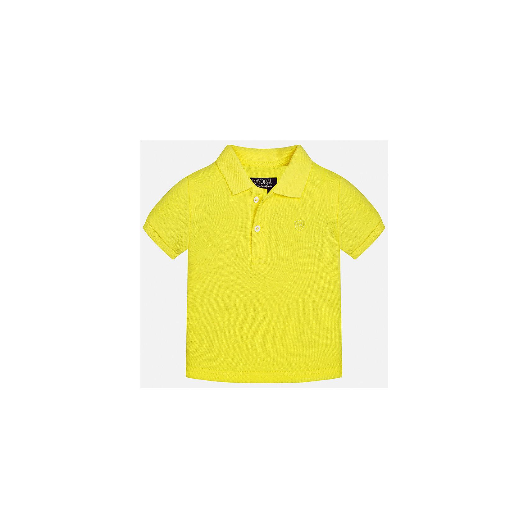 Футболка-поло для мальчика MayoralФутболки, топы<br>Характеристики товара:<br><br>• цвет: желтый<br>• состав: 100% хлопок<br>• отложной воротник<br>• короткие рукава<br>• застежка: пуговицы<br>• вышивка на груди<br>• страна бренда: Испания<br><br>Удобная и модная футболка-поло для мальчика может стать базовой вещью в гардеробе ребенка. Она отлично сочетается с брюками, шортами, джинсами и т.д. Универсальный крой и цвет позволяет подобрать к вещи низ разных расцветок. Практичное и стильное изделие! В составе материала - только натуральный хлопок, гипоаллергенный, приятный на ощупь, дышащий.<br><br>Одежда, обувь и аксессуары от испанского бренда Mayoral полюбились детям и взрослым по всему миру. Модели этой марки - стильные и удобные. Для их производства используются только безопасные, качественные материалы и фурнитура. Порадуйте ребенка модными и красивыми вещами от Mayoral! <br><br>Футболку-поло для мальчика от испанского бренда Mayoral (Майорал) можно купить в нашем интернет-магазине.<br><br>Ширина мм: 230<br>Глубина мм: 40<br>Высота мм: 220<br>Вес г: 250<br>Цвет: желтый<br>Возраст от месяцев: 6<br>Возраст до месяцев: 9<br>Пол: Мужской<br>Возраст: Детский<br>Размер: 74,92,86,80<br>SKU: 5277653
