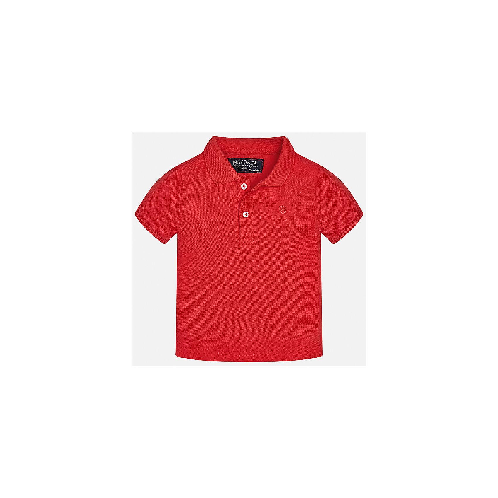 Футболка-поло для мальчика MayoralФутболки, топы<br>Характеристики товара:<br><br>• цвет: красный<br>• состав: 100% хлопок<br>• отложной воротник<br>• короткие рукава<br>• застежка: пуговицы<br>• вышивка на груди<br>• страна бренда: Испания<br><br>Удобная и модная футболка-поло для мальчика может стать базовой вещью в гардеробе ребенка. Она отлично сочетается с брюками, шортами, джинсами и т.д. Универсальный крой и цвет позволяет подобрать к вещи низ разных расцветок. Практичное и стильное изделие! В составе материала - только натуральный хлопок, гипоаллергенный, приятный на ощупь, дышащий.<br><br>Одежда, обувь и аксессуары от испанского бренда Mayoral полюбились детям и взрослым по всему миру. Модели этой марки - стильные и удобные. Для их производства используются только безопасные, качественные материалы и фурнитура. Порадуйте ребенка модными и красивыми вещами от Mayoral! <br><br>Футболку-поло для мальчика от испанского бренда Mayoral (Майорал) можно купить в нашем интернет-магазине.<br><br>Ширина мм: 230<br>Глубина мм: 40<br>Высота мм: 220<br>Вес г: 250<br>Цвет: розовый<br>Возраст от месяцев: 18<br>Возраст до месяцев: 24<br>Пол: Мужской<br>Возраст: Детский<br>Размер: 92,86,80,74<br>SKU: 5277663