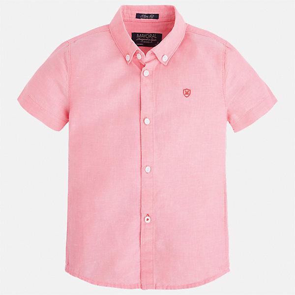 Рубашка для мальчика MayoralБлузки и рубашки<br>Характеристики товара:<br><br>• цвет: розовый<br>• состав: 70% хлопок, 30% лен<br>• отложной воротник<br>• короткие рукава<br>• застежка: пуговицы<br>• вышивка на груди<br>• страна бренда: Испания<br><br>Удобная и модная рубашка для мальчика может стать базовой вещью в гардеробе ребенка. Она отлично сочетается с брюками, шортами, джинсами и т.д. Универсальный крой и цвет позволяет подобрать к вещи низ разных расцветок. Практичное и стильное изделие! В составе материала - натуральный хлопок, гипоаллергенный, приятный на ощупь, дышащий.<br><br>Одежда, обувь и аксессуары от испанского бренда Mayoral полюбились детям и взрослым по всему миру. Модели этой марки - стильные и удобные. Для их производства используются только безопасные, качественные материалы и фурнитура. Порадуйте ребенка модными и красивыми вещами от Mayoral! <br><br>Рубашку для мальчика от испанского бренда Mayoral (Майорал) можно купить в нашем интернет-магазине.<br>Ширина мм: 174; Глубина мм: 10; Высота мм: 169; Вес г: 157; Цвет: розовый; Возраст от месяцев: 96; Возраст до месяцев: 108; Пол: Мужской; Возраст: Детский; Размер: 134,92,98,104,110,116,122,128; SKU: 5277668;
