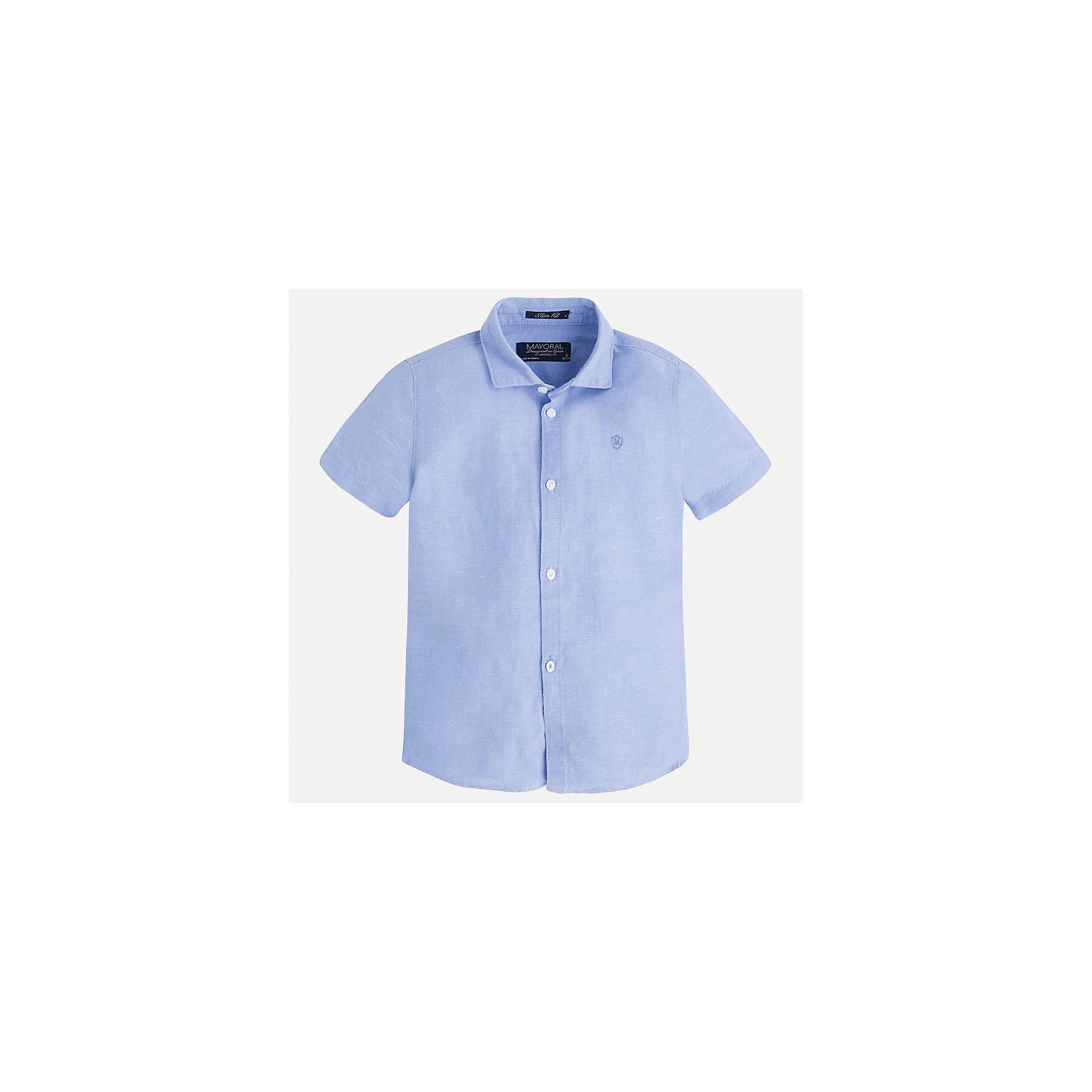 Рубашка для мальчика MayoralБлузки и рубашки<br>Характеристики товара:<br><br>• цвет: голубой<br>• состав: 70% хлопок, 30% лен<br>• отложной воротник<br>• короткие рукава<br>• застежка: пуговицы<br>• вышивка на груди<br>• страна бренда: Испания<br><br>Удобная и модная рубашка для мальчика может стать базовой вещью в гардеробе ребенка. Она отлично сочетается с брюками, шортами, джинсами и т.д. Универсальный крой и цвет позволяет подобрать к вещи низ разных расцветок. Практичное и стильное изделие! В составе материала - натуральный хлопок, гипоаллергенный, приятный на ощупь, дышащий.<br><br>Одежда, обувь и аксессуары от испанского бренда Mayoral полюбились детям и взрослым по всему миру. Модели этой марки - стильные и удобные. Для их производства используются только безопасные, качественные материалы и фурнитура. Порадуйте ребенка модными и красивыми вещами от Mayoral! <br><br>Рубашку для мальчика от испанского бренда Mayoral (Майорал) можно купить в нашем интернет-магазине.<br><br>Ширина мм: 174<br>Глубина мм: 10<br>Высота мм: 169<br>Вес г: 157<br>Цвет: белый<br>Возраст от месяцев: 18<br>Возраст до месяцев: 24<br>Пол: Мужской<br>Возраст: Детский<br>Размер: 92,104,134,128,122,116,110,98<br>SKU: 5277677