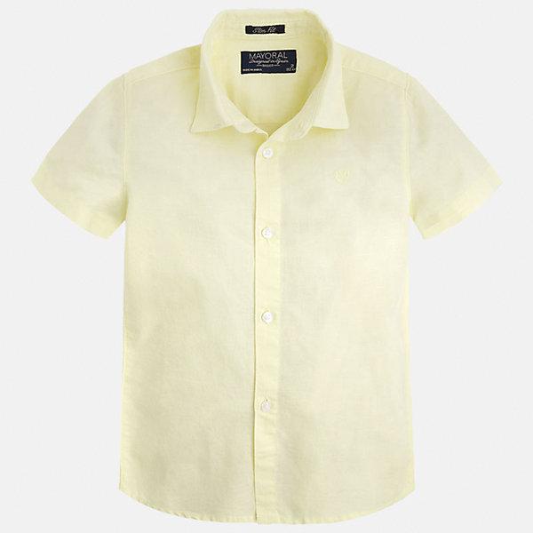 Рубашка для мальчика MayoralБлузки и рубашки<br>Характеристики товара:<br><br>• цвет: желтый<br>• состав: 70% хлопок, 30% лен<br>• отложной воротник<br>• короткие рукава<br>• застежка: пуговицы<br>• вышивка на груди<br>• страна бренда: Испания<br><br>Удобная и модная рубашка для мальчика может стать базовой вещью в гардеробе ребенка. Она отлично сочетается с брюками, шортами, джинсами и т.д. Универсальный крой и цвет позволяет подобрать к вещи низ разных расцветок. Практичное и стильное изделие! В составе материала - натуральный хлопок, гипоаллергенный, приятный на ощупь, дышащий.<br><br>Одежда, обувь и аксессуары от испанского бренда Mayoral полюбились детям и взрослым по всему миру. Модели этой марки - стильные и удобные. Для их производства используются только безопасные, качественные материалы и фурнитура. Порадуйте ребенка модными и красивыми вещами от Mayoral! <br><br>Рубашку для мальчика от испанского бренда Mayoral (Майорал) можно купить в нашем интернет-магазине.<br>Ширина мм: 174; Глубина мм: 10; Высота мм: 169; Вес г: 157; Цвет: оранжевый; Возраст от месяцев: 18; Возраст до месяцев: 24; Пол: Мужской; Возраст: Детский; Размер: 92,110,98,104,116,122,128,134; SKU: 5277686;