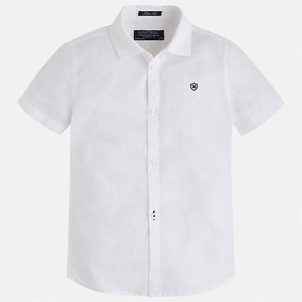 Рубашка для мальчика MayoralБлузки и рубашки<br>Характеристики товара:<br><br>• цвет: белый<br>• состав: 70% хлопок, 30% лен<br>• отложной воротник<br>• короткие рукава<br>• застежка: пуговицы<br>• вышивка на груди<br>• страна бренда: Испания<br><br>Удобная и модная рубашка для мальчика может стать базовой вещью в гардеробе ребенка. Она отлично сочетается с брюками, шортами, джинсами и т.д. Универсальный крой и цвет позволяет подобрать к вещи низ разных расцветок. Практичное и стильное изделие! В составе материала - натуральный хлопок, гипоаллергенный, приятный на ощупь, дышащий.<br><br>Одежда, обувь и аксессуары от испанского бренда Mayoral полюбились детям и взрослым по всему миру. Модели этой марки - стильные и удобные. Для их производства используются только безопасные, качественные материалы и фурнитура. Порадуйте ребенка модными и красивыми вещами от Mayoral! <br><br>Рубашку для мальчика от испанского бренда Mayoral (Майорал) можно купить в нашем интернет-магазине.<br>Ширина мм: 174; Глубина мм: 10; Высота мм: 169; Вес г: 157; Цвет: белый; Возраст от месяцев: 96; Возраст до месяцев: 108; Пол: Мужской; Возраст: Детский; Размер: 134,92,98,104,110,116,122,128; SKU: 5277695;