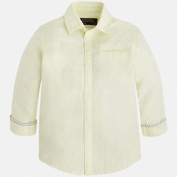 Рубашка для мальчика MayoralБлузки и рубашки<br>Характеристики товара:<br><br>• цвет: желтая<br>• состав: 70% хлопок, 30% лен<br>• отложной воротник<br>• рукава с отворотами<br>• застежка: пуговицы<br>• карман на груди<br>• страна бренда: Испания<br><br>Удобная и модная рубашка для мальчика может стать базовой вещью в гардеробе ребенка. Она отлично сочетается с брюками, шортами, джинсами и т.д. Универсальный крой и цвет позволяет подобрать к вещи низ разных расцветок. Практичное и стильное изделие! В составе материала - натуральный хлопок, гипоаллергенный, приятный на ощупь, дышащий.<br><br>Одежда, обувь и аксессуары от испанского бренда Mayoral полюбились детям и взрослым по всему миру. Модели этой марки - стильные и удобные. Для их производства используются только безопасные, качественные материалы и фурнитура. Порадуйте ребенка модными и красивыми вещами от Mayoral! <br><br>Рубашку для мальчика от испанского бренда Mayoral (Майорал) можно купить в нашем интернет-магазине.<br>Ширина мм: 174; Глубина мм: 10; Высота мм: 169; Вес г: 157; Цвет: оранжевый; Возраст от месяцев: 24; Возраст до месяцев: 36; Пол: Мужской; Возраст: Детский; Размер: 98,92,134,128,122,116,110,104; SKU: 5277704;