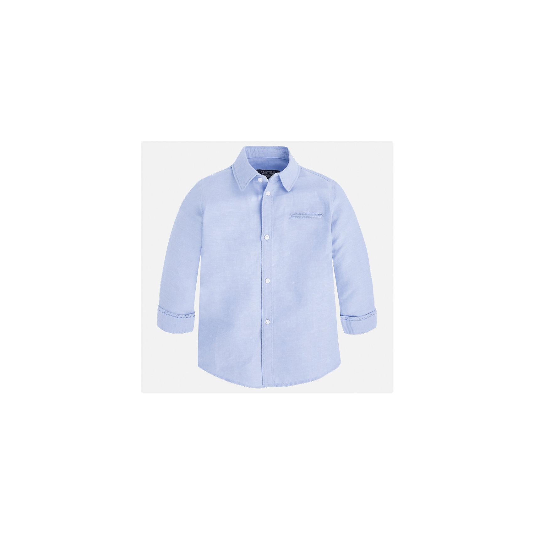 Рубашка для мальчика MayoralБлузки и рубашки<br>Характеристики товара:<br><br>• цвет: голубой<br>• состав: 70% хлопок, 30% лен<br>• отложной воротник<br>• рукава с отворотами<br>• застежка: пуговицы<br>• карман на груди<br>• страна бренда: Испания<br><br>Удобная и модная рубашка для мальчика может стать базовой вещью в гардеробе ребенка. Она отлично сочетается с брюками, шортами, джинсами и т.д. Универсальный крой и цвет позволяет подобрать к вещи низ разных расцветок. Практичное и стильное изделие! В составе материала - натуральный хлопок, гипоаллергенный, приятный на ощупь, дышащий.<br><br>Одежда, обувь и аксессуары от испанского бренда Mayoral полюбились детям и взрослым по всему миру. Модели этой марки - стильные и удобные. Для их производства используются только безопасные, качественные материалы и фурнитура. Порадуйте ребенка модными и красивыми вещами от Mayoral! <br><br>Рубашку для мальчика от испанского бренда Mayoral (Майорал) можно купить в нашем интернет-магазине.<br><br>Ширина мм: 174<br>Глубина мм: 10<br>Высота мм: 169<br>Вес г: 157<br>Цвет: голубой<br>Возраст от месяцев: 60<br>Возраст до месяцев: 72<br>Пол: Мужской<br>Возраст: Детский<br>Размер: 116,134,128,122,110,104,98,92<br>SKU: 5277713