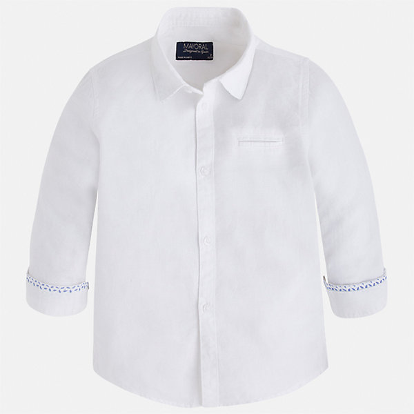Рубашка для мальчика MayoralБлузки и рубашки<br>Характеристики товара:<br><br>• цвет: белый<br>• состав: 70% хлопок, 30% лен<br>• отложной воротник<br>• рукава с отворотами<br>• застежка: пуговицы<br>• карман на груди<br>• страна бренда: Испания<br><br>Удобная и модная рубашка для мальчика может стать базовой вещью в гардеробе ребенка. Она отлично сочетается с брюками, шортами, джинсами и т.д. Универсальный крой и цвет позволяет подобрать к вещи низ разных расцветок. Практичное и стильное изделие! В составе материала - натуральный хлопок, гипоаллергенный, приятный на ощупь, дышащий.<br><br>Одежда, обувь и аксессуары от испанского бренда Mayoral полюбились детям и взрослым по всему миру. Модели этой марки - стильные и удобные. Для их производства используются только безопасные, качественные материалы и фурнитура. Порадуйте ребенка модными и красивыми вещами от Mayoral! <br><br>Рубашку для мальчика от испанского бренда Mayoral (Майорал) можно купить в нашем интернет-магазине.<br>Ширина мм: 174; Глубина мм: 10; Высота мм: 169; Вес г: 157; Цвет: белый; Возраст от месяцев: 18; Возраст до месяцев: 24; Пол: Мужской; Возраст: Детский; Размер: 92,134,98,104,110,116,122,128; SKU: 5277722;