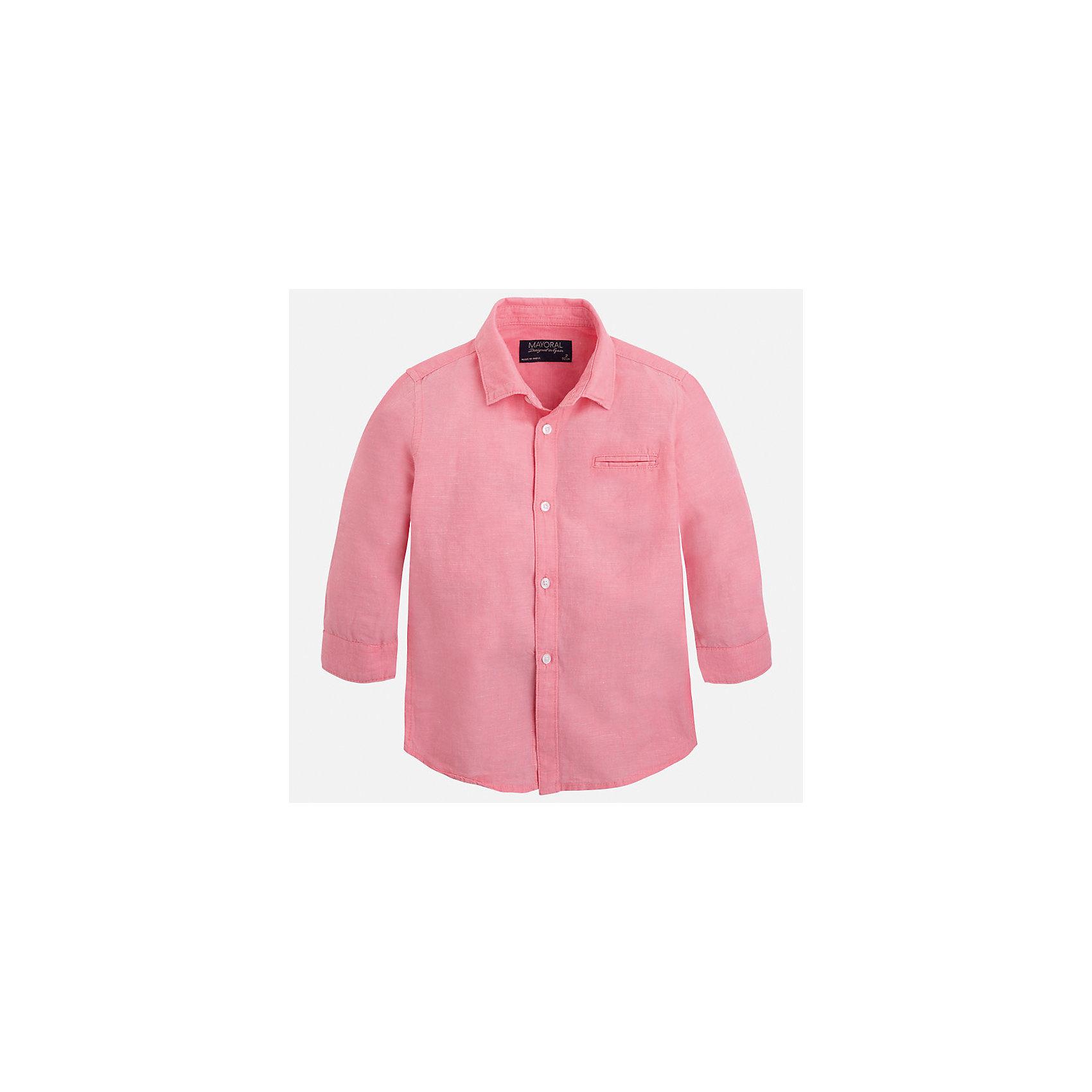 Рубашка для мальчика MayoralБлузки и рубашки<br>Характеристики товара:<br><br>• цвет: розовый<br>• состав: 70% хлопок, 30% лен<br>• отложной воротник<br>• рукава с отворотами<br>• застежка: пуговицы<br>• карман на груди<br>• страна бренда: Испания<br><br>Удобная и модная рубашка для мальчика может стать базовой вещью в гардеробе ребенка. Она отлично сочетается с брюками, шортами, джинсами и т.д. Универсальный крой и цвет позволяет подобрать к вещи низ разных расцветок. Практичное и стильное изделие! В составе материала - натуральный хлопок, гипоаллергенный, приятный на ощупь, дышащий.<br><br>Одежда, обувь и аксессуары от испанского бренда Mayoral полюбились детям и взрослым по всему миру. Модели этой марки - стильные и удобные. Для их производства используются только безопасные, качественные материалы и фурнитура. Порадуйте ребенка модными и красивыми вещами от Mayoral! <br><br>Рубашку для мальчика от испанского бренда Mayoral (Майорал) можно купить в нашем интернет-магазине.<br><br>Ширина мм: 174<br>Глубина мм: 10<br>Высота мм: 169<br>Вес г: 157<br>Цвет: розовый<br>Возраст от месяцев: 84<br>Возраст до месяцев: 96<br>Пол: Мужской<br>Возраст: Детский<br>Размер: 128,134,122,116,104,98,92,110<br>SKU: 5277731