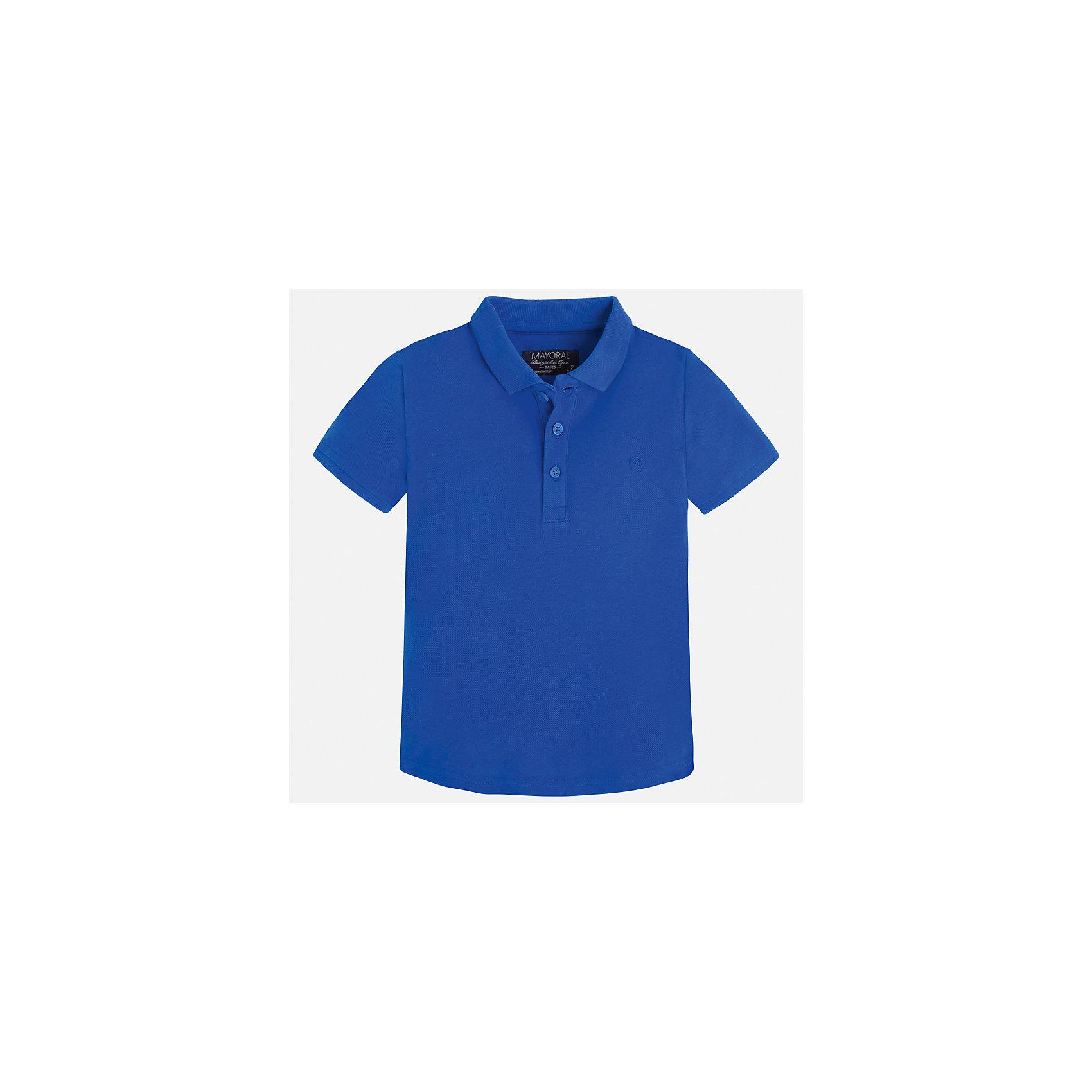 Футболка-поло для мальчика MayoralХарактеристики товара:<br><br>• цвет: синий<br>• состав: 100% хлопок<br>• отложной воротник<br>• короткие рукава<br>• застежка: пуговицы<br>• вышивка на груди<br>• страна бренда: Испания<br><br>Стильная удобная футболка-поло для мальчика может стать базовой вещью в гардеробе ребенка. Она отлично сочетается с брюками, шортами, джинсами и т.д. Универсальный крой и цвет позволяет подобрать к вещи низ разных расцветок. Практичное и стильное изделие! В составе материала - только натуральный хлопок, гипоаллергенный, приятный на ощупь, дышащий.<br><br>Одежда, обувь и аксессуары от испанского бренда Mayoral полюбились детям и взрослым по всему миру. Модели этой марки - стильные и удобные. Для их производства используются только безопасные, качественные материалы и фурнитура. Порадуйте ребенка модными и красивыми вещами от Mayoral! <br><br>Футболку-поло для мальчика от испанского бренда Mayoral (Майорал) можно купить в нашем интернет-магазине.<br><br>Ширина мм: 230<br>Глубина мм: 40<br>Высота мм: 220<br>Вес г: 250<br>Цвет: голубой<br>Возраст от месяцев: 18<br>Возраст до месяцев: 24<br>Пол: Мужской<br>Возраст: Детский<br>Размер: 92,134,128,122,116,110,104,98<br>SKU: 5277740