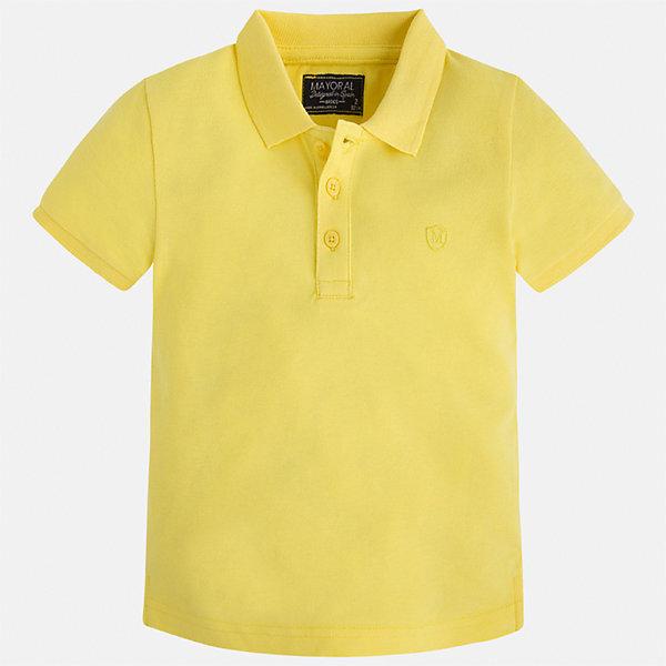 Рубашка-поло для мальчика MayoralФутболки, поло и топы<br>Характеристики товара:<br><br>• цвет: желтый<br>• состав: 100% хлопок<br>• отложной воротник<br>• короткие рукава<br>• застежка: пуговицы<br>• страна бренда: Испания<br><br>Стильная удобная футболка-поло для мальчика может стать базовой вещью в гардеробе ребенка. Она отлично сочетается с брюками, шортами, джинсами и т.д. Универсальный крой и цвет позволяет подобрать к вещи низ разных расцветок. Практичное и стильное изделие! В составе материала - только натуральный хлопок, гипоаллергенный, приятный на ощупь, дышащий.<br><br>Одежда, обувь и аксессуары от испанского бренда Mayoral полюбились детям и взрослым по всему миру. Модели этой марки - стильные и удобные. Для их производства используются только безопасные, качественные материалы и фурнитура. Порадуйте ребенка модными и красивыми вещами от Mayoral! <br><br>Футболку-поло для мальчика от испанского бренда Mayoral (Майорал) можно купить в нашем интернет-магазине.<br><br>Ширина мм: 230<br>Глубина мм: 40<br>Высота мм: 220<br>Вес г: 250<br>Цвет: желтый<br>Возраст от месяцев: 18<br>Возраст до месяцев: 24<br>Пол: Мужской<br>Возраст: Детский<br>Размер: 92,110,104,98,134,128,122,116<br>SKU: 5277749