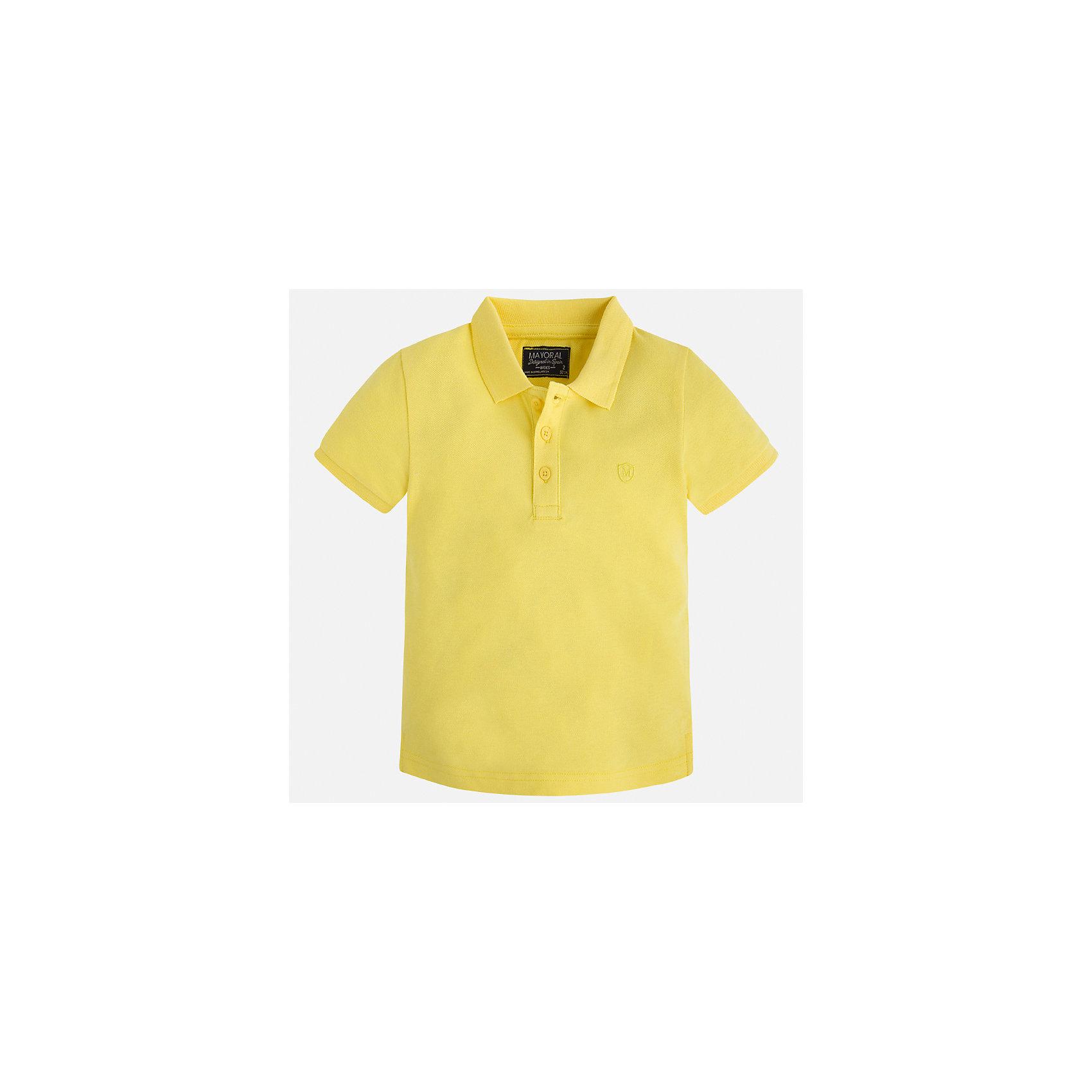 Рубашка-поло для мальчика MayoralХарактеристики товара:<br><br>• цвет: желтый<br>• состав: 100% хлопок<br>• отложной воротник<br>• короткие рукава<br>• застежка: пуговицы<br>• страна бренда: Испания<br><br>Стильная удобная футболка-поло для мальчика может стать базовой вещью в гардеробе ребенка. Она отлично сочетается с брюками, шортами, джинсами и т.д. Универсальный крой и цвет позволяет подобрать к вещи низ разных расцветок. Практичное и стильное изделие! В составе материала - только натуральный хлопок, гипоаллергенный, приятный на ощупь, дышащий.<br><br>Одежда, обувь и аксессуары от испанского бренда Mayoral полюбились детям и взрослым по всему миру. Модели этой марки - стильные и удобные. Для их производства используются только безопасные, качественные материалы и фурнитура. Порадуйте ребенка модными и красивыми вещами от Mayoral! <br><br>Футболку-поло для мальчика от испанского бренда Mayoral (Майорал) можно купить в нашем интернет-магазине.<br><br>Ширина мм: 230<br>Глубина мм: 40<br>Высота мм: 220<br>Вес г: 250<br>Цвет: желтый<br>Возраст от месяцев: 18<br>Возраст до месяцев: 24<br>Пол: Мужской<br>Возраст: Детский<br>Размер: 92,134,128,122,116,110,104,98<br>SKU: 5277749