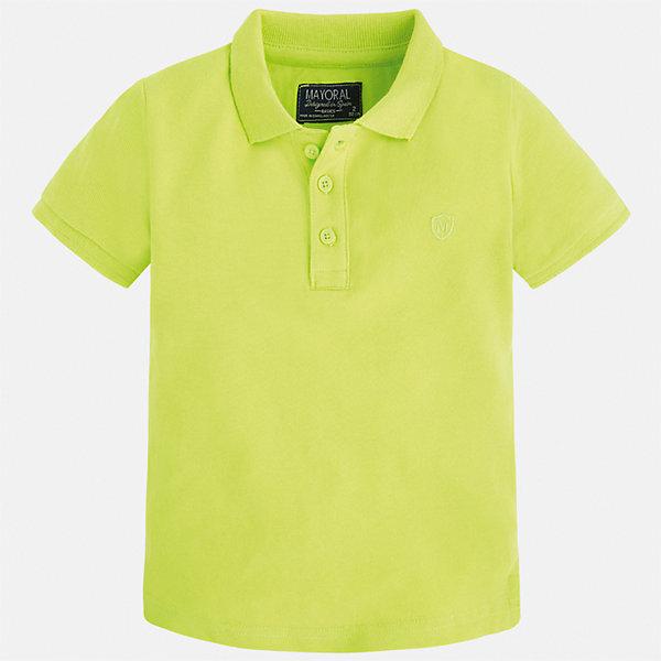 Футболка-поло для мальчика MayoralФутболки, поло и топы<br>Характеристики товара:<br><br>• цвет: зеленый<br>• состав: 100% хлопок<br>• отложной воротник<br>• короткие рукава<br>• застежка: пуговицы<br>• вышивка на груди<br>• страна бренда: Испания<br><br>Стильная удобная футболка-поло для мальчика может стать базовой вещью в гардеробе ребенка. Она отлично сочетается с брюками, шортами, джинсами и т.д. Универсальный крой и цвет позволяет подобрать к вещи низ разных расцветок. Практичное и стильное изделие! В составе материала - только натуральный хлопок, гипоаллергенный, приятный на ощупь, дышащий.<br><br>Одежда, обувь и аксессуары от испанского бренда Mayoral полюбились детям и взрослым по всему миру. Модели этой марки - стильные и удобные. Для их производства используются только безопасные, качественные материалы и фурнитура. Порадуйте ребенка модными и красивыми вещами от Mayoral! <br><br>Футболку-поло для мальчика от испанского бренда Mayoral (Майорал) можно купить в нашем интернет-магазине.<br><br>Ширина мм: 230<br>Глубина мм: 40<br>Высота мм: 220<br>Вес г: 250<br>Цвет: зеленый<br>Возраст от месяцев: 18<br>Возраст до месяцев: 24<br>Пол: Мужской<br>Возраст: Детский<br>Размер: 104,110,116,122,92,128,134,98<br>SKU: 5277758
