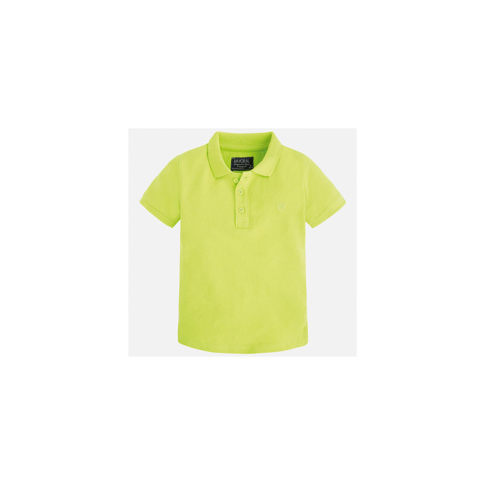 Футболка-поло для мальчика MayoralФутболки, поло и топы<br>Характеристики товара:<br><br>• цвет: зеленый<br>• состав: 100% хлопок<br>• отложной воротник<br>• короткие рукава<br>• застежка: пуговицы<br>• вышивка на груди<br>• страна бренда: Испания<br><br>Стильная удобная футболка-поло для мальчика может стать базовой вещью в гардеробе ребенка. Она отлично сочетается с брюками, шортами, джинсами и т.д. Универсальный крой и цвет позволяет подобрать к вещи низ разных расцветок. Практичное и стильное изделие! В составе материала - только натуральный хлопок, гипоаллергенный, приятный на ощупь, дышащий.<br><br>Одежда, обувь и аксессуары от испанского бренда Mayoral полюбились детям и взрослым по всему миру. Модели этой марки - стильные и удобные. Для их производства используются только безопасные, качественные материалы и фурнитура. Порадуйте ребенка модными и красивыми вещами от Mayoral! <br><br>Футболку-поло для мальчика от испанского бренда Mayoral (Майорал) можно купить в нашем интернет-магазине.<br><br>Ширина мм: 230<br>Глубина мм: 40<br>Высота мм: 220<br>Вес г: 250<br>Цвет: зеленый<br>Возраст от месяцев: 96<br>Возраст до месяцев: 108<br>Пол: Мужской<br>Возраст: Детский<br>Размер: 134,128,122,116,110,104,98,92<br>SKU: 5277758