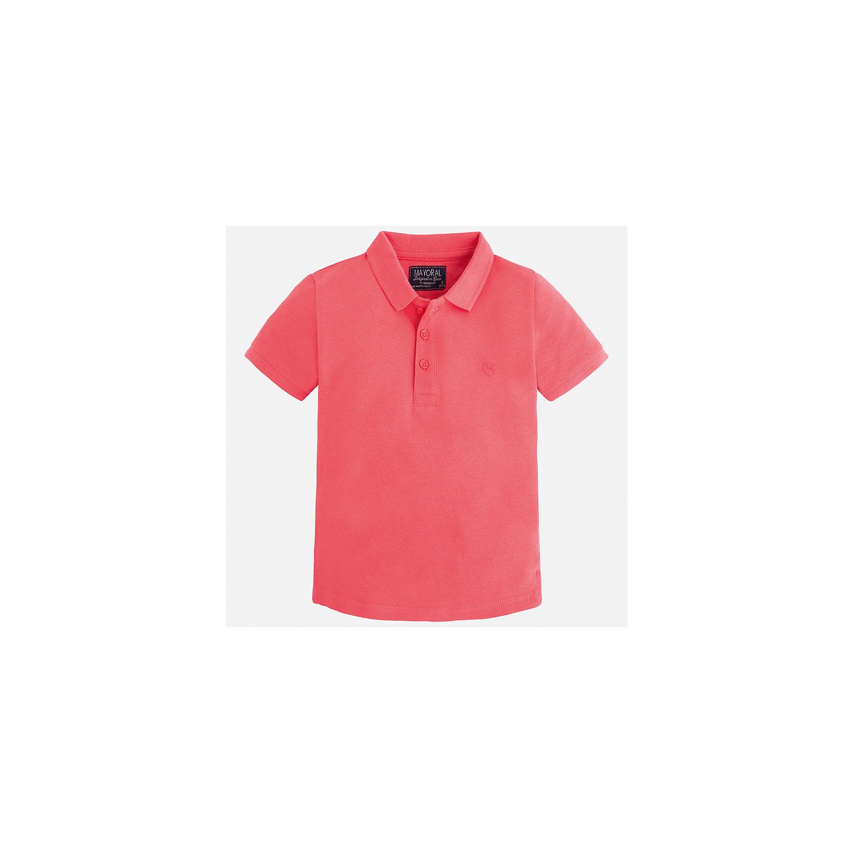 Футболка-поло для мальчика MayoralФутболки, поло и топы<br>Характеристики товара:<br><br>• цвет: розовый<br>• состав: 100% хлопок<br>• отложной воротник<br>• короткие рукава<br>• застежка: пуговицы<br>• вышивка на груди<br>• страна бренда: Испания<br><br>Стильная удобная футболка-поло для мальчика может стать базовой вещью в гардеробе ребенка. Она отлично сочетается с брюками, шортами, джинсами и т.д. Универсальный крой и цвет позволяет подобрать к вещи низ разных расцветок. Практичное и стильное изделие! В составе материала - только натуральный хлопок, гипоаллергенный, приятный на ощупь, дышащий.<br><br>Одежда, обувь и аксессуары от испанского бренда Mayoral полюбились детям и взрослым по всему миру. Модели этой марки - стильные и удобные. Для их производства используются только безопасные, качественные материалы и фурнитура. Порадуйте ребенка модными и красивыми вещами от Mayoral! <br><br>Футболку-поло для мальчика от испанского бренда Mayoral (Майорал) можно купить в нашем интернет-магазине.<br><br>Ширина мм: 230<br>Глубина мм: 40<br>Высота мм: 220<br>Вес г: 250<br>Цвет: розовый<br>Возраст от месяцев: 18<br>Возраст до месяцев: 24<br>Пол: Мужской<br>Возраст: Детский<br>Размер: 92,134,128,122,116,110,104,98<br>SKU: 5277767