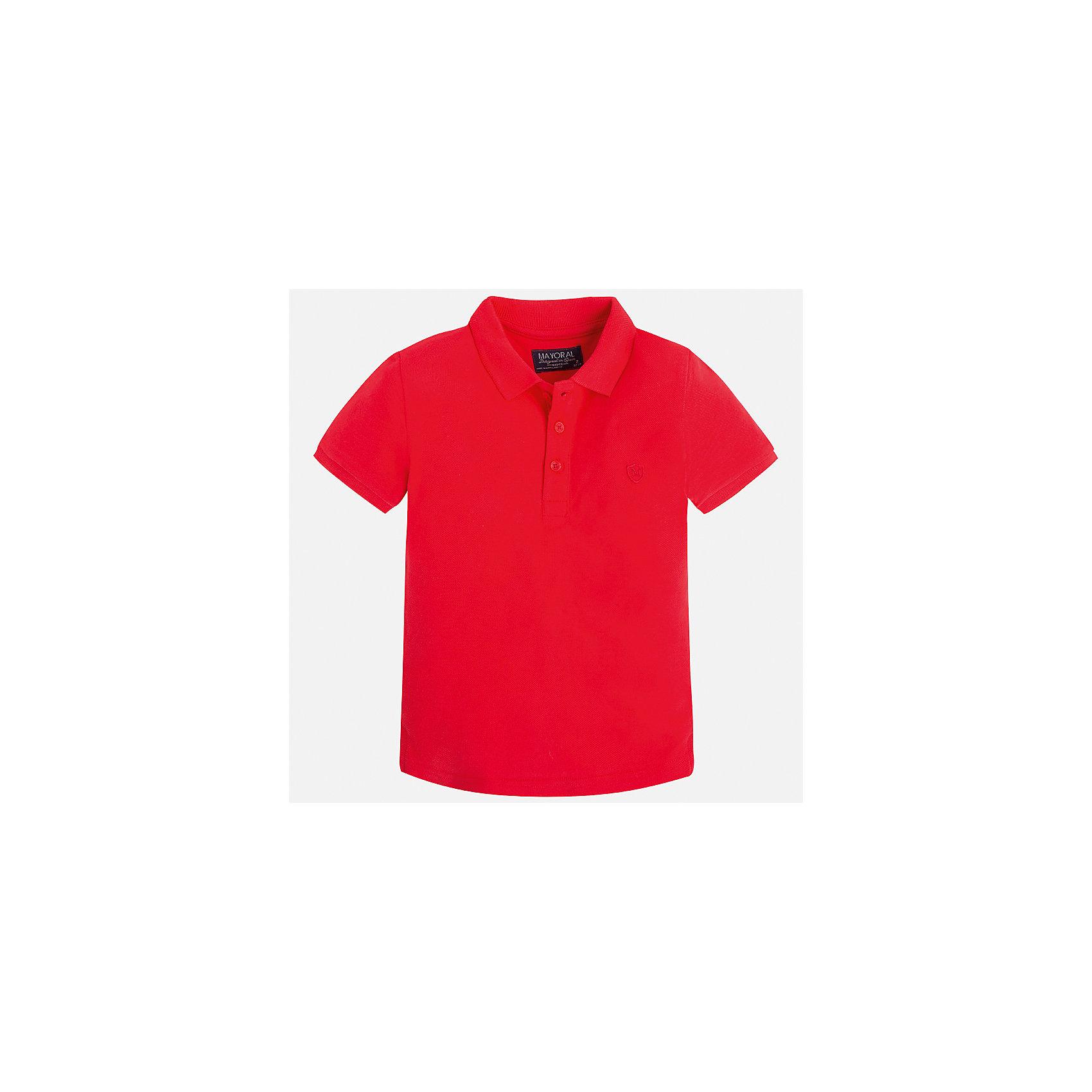 Футболка-поло для мальчика MayoralФутболки, поло и топы<br>Характеристики товара:<br><br>• цвет: красный<br>• состав: 100% хлопок<br>• отложной воротник<br>• короткие рукава<br>• застежка: пуговицы<br>• страна бренда: Испания<br><br>Стильная удобная футболка-поло для мальчика может стать базовой вещью в гардеробе ребенка. Она отлично сочетается с брюками, шортами, джинсами и т.д. Универсальный крой и цвет позволяет подобрать к вещи низ разных расцветок. Практичное и стильное изделие! В составе материала - только натуральный хлопок, гипоаллергенный, приятный на ощупь, дышащий.<br><br>Одежда, обувь и аксессуары от испанского бренда Mayoral полюбились детям и взрослым по всему миру. Модели этой марки - стильные и удобные. Для их производства используются только безопасные, качественные материалы и фурнитура. Порадуйте ребенка модными и красивыми вещами от Mayoral! <br><br>Футболку-поло для мальчика от испанского бренда Mayoral (Майорал) можно купить в нашем интернет-магазине.<br><br>Ширина мм: 230<br>Глубина мм: 40<br>Высота мм: 220<br>Вес г: 250<br>Цвет: красный<br>Возраст от месяцев: 60<br>Возраст до месяцев: 72<br>Пол: Мужской<br>Возраст: Детский<br>Размер: 116,122,110,104,98,92,134,128<br>SKU: 5277785