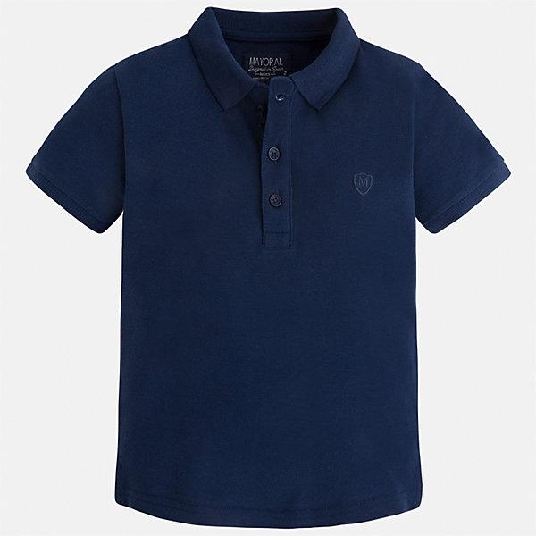 Футболка-поло для мальчика MayoralФутболки, поло и топы<br>Характеристики товара:<br><br>• цвет: синий<br>• состав: 100% хлопок<br>• отложной воротник<br>• короткие рукава<br>• застежка: пуговицы<br>• вышивка на груди<br>• страна бренда: Испания<br><br>Стильная удобная футболка-поло для мальчика может стать базовой вещью в гардеробе ребенка. Она отлично сочетается с брюками, шортами, джинсами и т.д. Универсальный крой и цвет позволяет подобрать к вещи низ разных расцветок. Практичное и стильное изделие! В составе материала - только натуральный хлопок, гипоаллергенный, приятный на ощупь, дышащий.<br><br>Одежда, обувь и аксессуары от испанского бренда Mayoral полюбились детям и взрослым по всему миру. Модели этой марки - стильные и удобные. Для их производства используются только безопасные, качественные материалы и фурнитура. Порадуйте ребенка модными и красивыми вещами от Mayoral! <br><br>Футболку-поло для мальчика от испанского бренда Mayoral (Майорал) можно купить в нашем интернет-магазине.<br>Ширина мм: 230; Глубина мм: 40; Высота мм: 220; Вес г: 250; Цвет: синий; Возраст от месяцев: 18; Возраст до месяцев: 24; Пол: Мужской; Возраст: Детский; Размер: 92,134,128,122,116,110,104,98; SKU: 5277794;