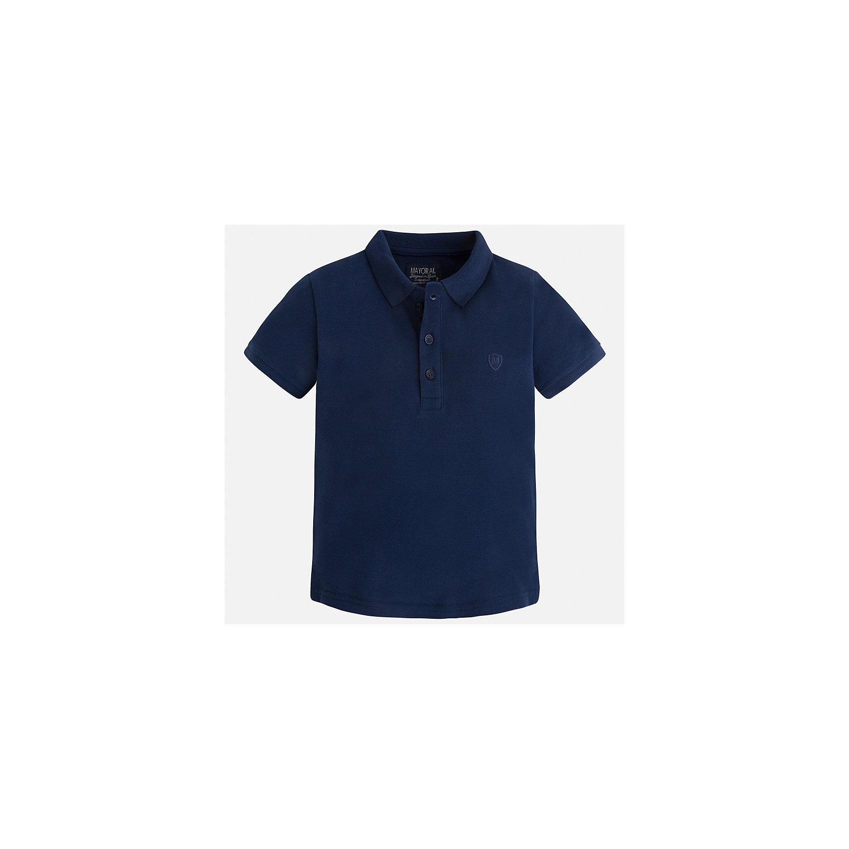 Футболка-поло для мальчика MayoralФутболки, поло и топы<br>Характеристики товара:<br><br>• цвет: синий<br>• состав: 100% хлопок<br>• отложной воротник<br>• короткие рукава<br>• застежка: пуговицы<br>• вышивка на груди<br>• страна бренда: Испания<br><br>Стильная удобная футболка-поло для мальчика может стать базовой вещью в гардеробе ребенка. Она отлично сочетается с брюками, шортами, джинсами и т.д. Универсальный крой и цвет позволяет подобрать к вещи низ разных расцветок. Практичное и стильное изделие! В составе материала - только натуральный хлопок, гипоаллергенный, приятный на ощупь, дышащий.<br><br>Одежда, обувь и аксессуары от испанского бренда Mayoral полюбились детям и взрослым по всему миру. Модели этой марки - стильные и удобные. Для их производства используются только безопасные, качественные материалы и фурнитура. Порадуйте ребенка модными и красивыми вещами от Mayoral! <br><br>Футболку-поло для мальчика от испанского бренда Mayoral (Майорал) можно купить в нашем интернет-магазине.<br><br>Ширина мм: 230<br>Глубина мм: 40<br>Высота мм: 220<br>Вес г: 250<br>Цвет: синий<br>Возраст от месяцев: 18<br>Возраст до месяцев: 24<br>Пол: Мужской<br>Возраст: Детский<br>Размер: 92,134,128,122,116,110,104,98<br>SKU: 5277794