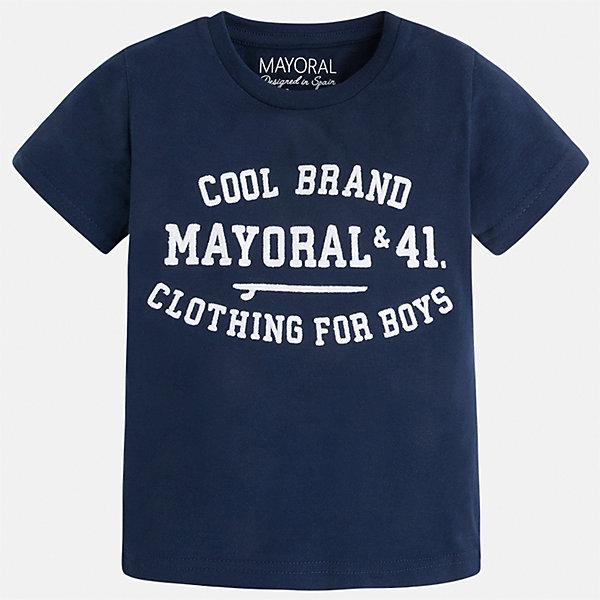 Футболка для мальчика MayoralФутболки, поло и топы<br>Характеристики товара:<br><br>• цвет: синий<br>• состав: 100% хлопок<br>• мягкая отделка ворота<br>• короткие рукава<br>• округлая горловина<br>• декорирована принтом<br>• страна бренда: Испания<br><br>Стильная удобная футболка для мальчика может стать базовой вещью в гардеробе ребенка. Она отлично сочетается с брюками, шортами, джинсами. Универсальный крой и цвет позволяет подобрать к вещи низ разных расцветок. Практичное и стильное изделие! В составе материала - только натуральный хлопок, гипоаллергенный, приятный на ощупь, дышащий.<br><br>Одежда, обувь и аксессуары от испанского бренда Mayoral полюбились детям и взрослым по всему миру. Модели этой марки - стильные и удобные. Для их производства используются только безопасные, качественные материалы и фурнитура. Порадуйте ребенка модными и красивыми вещами от Mayoral! <br><br>Футболку для мальчика от испанского бренда Mayoral (Майорал) можно купить в нашем интернет-магазине.<br><br>Ширина мм: 199<br>Глубина мм: 10<br>Высота мм: 161<br>Вес г: 151<br>Цвет: синий<br>Возраст от месяцев: 24<br>Возраст до месяцев: 36<br>Пол: Мужской<br>Возраст: Детский<br>Размер: 98,122,134,128,116,110,104,92<br>SKU: 5277803