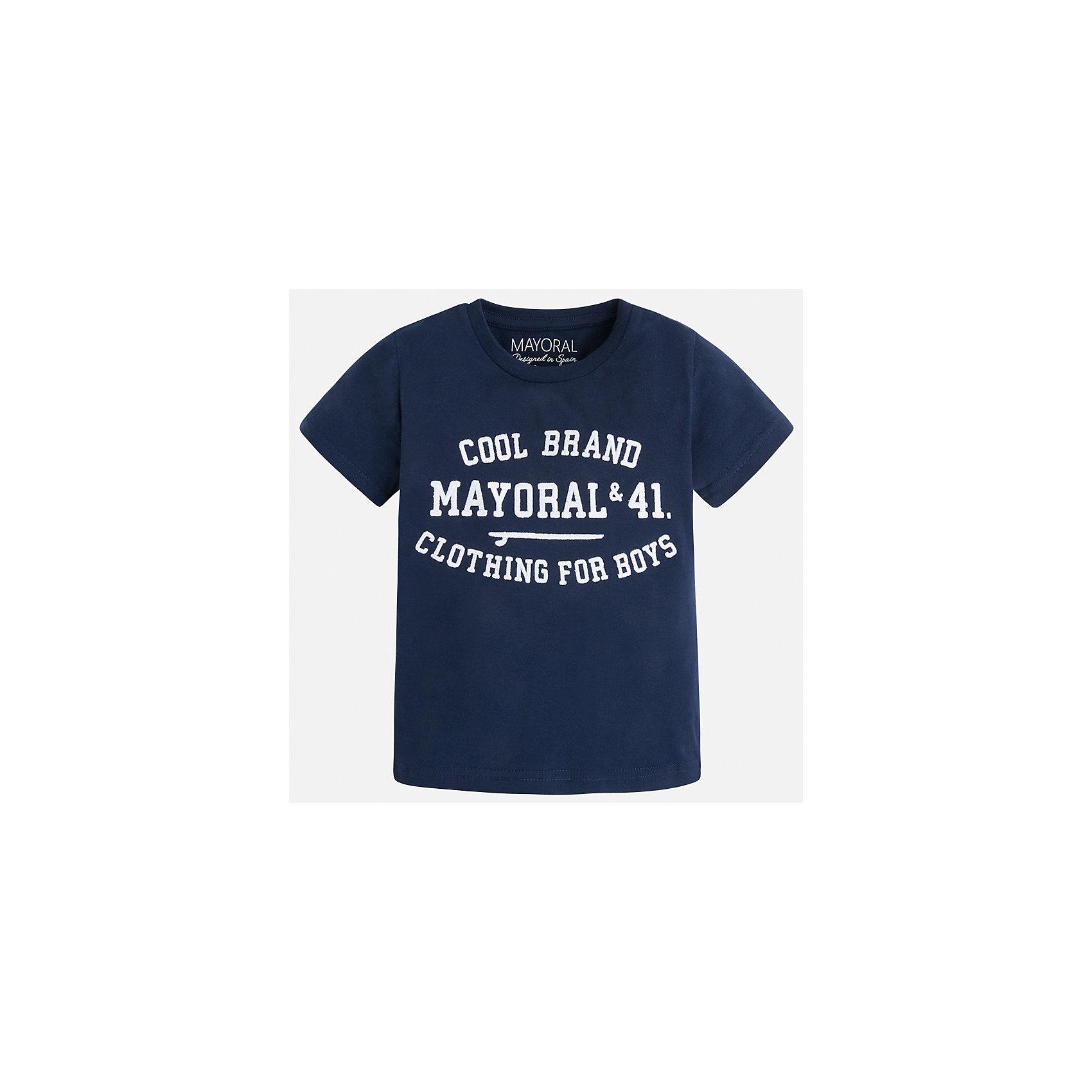 Футболка для мальчика MayoralФутболки, поло и топы<br>Характеристики товара:<br><br>• цвет: синий<br>• состав: 100% хлопок<br>• мягкая отделка ворота<br>• короткие рукава<br>• округлая горловина<br>• декорирована принтом<br>• страна бренда: Испания<br><br>Стильная удобная футболка для мальчика может стать базовой вещью в гардеробе ребенка. Она отлично сочетается с брюками, шортами, джинсами. Универсальный крой и цвет позволяет подобрать к вещи низ разных расцветок. Практичное и стильное изделие! В составе материала - только натуральный хлопок, гипоаллергенный, приятный на ощупь, дышащий.<br><br>Одежда, обувь и аксессуары от испанского бренда Mayoral полюбились детям и взрослым по всему миру. Модели этой марки - стильные и удобные. Для их производства используются только безопасные, качественные материалы и фурнитура. Порадуйте ребенка модными и красивыми вещами от Mayoral! <br><br>Футболку для мальчика от испанского бренда Mayoral (Майорал) можно купить в нашем интернет-магазине.<br><br>Ширина мм: 199<br>Глубина мм: 10<br>Высота мм: 161<br>Вес г: 151<br>Цвет: синий<br>Возраст от месяцев: 24<br>Возраст до месяцев: 36<br>Пол: Мужской<br>Возраст: Детский<br>Размер: 122,134,128,116,110,104,98,92<br>SKU: 5277803