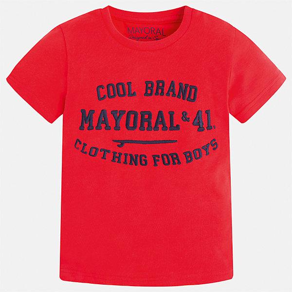 Футболка для мальчика MayoralФутболки, поло и топы<br>Характеристики товара:<br><br>• цвет: красный<br>• состав: 100% хлопок<br>• мягкая отделка ворота<br>• короткие рукава<br>• округлая горловина<br>• декорирована принтом<br>• страна бренда: Испания<br><br>Стильная удобная футболка для мальчика может стать базовой вещью в гардеробе ребенка. Она отлично сочетается с брюками, шортами, джинсами. Универсальный крой и цвет позволяет подобрать к вещи низ разных расцветок. Практичное и стильное изделие! В составе материала - только натуральный хлопок, гипоаллергенный, приятный на ощупь, дышащий.<br><br>Одежда, обувь и аксессуары от испанского бренда Mayoral полюбились детям и взрослым по всему миру. Модели этой марки - стильные и удобные. Для их производства используются только безопасные, качественные материалы и фурнитура. Порадуйте ребенка модными и красивыми вещами от Mayoral! <br><br>Футболку для мальчика от испанского бренда Mayoral (Майорал) можно купить в нашем интернет-магазине.<br><br>Ширина мм: 199<br>Глубина мм: 10<br>Высота мм: 161<br>Вес г: 151<br>Цвет: красный<br>Возраст от месяцев: 18<br>Возраст до месяцев: 24<br>Пол: Мужской<br>Возраст: Детский<br>Размер: 92,134,98,104,110,116,122,128<br>SKU: 5277821