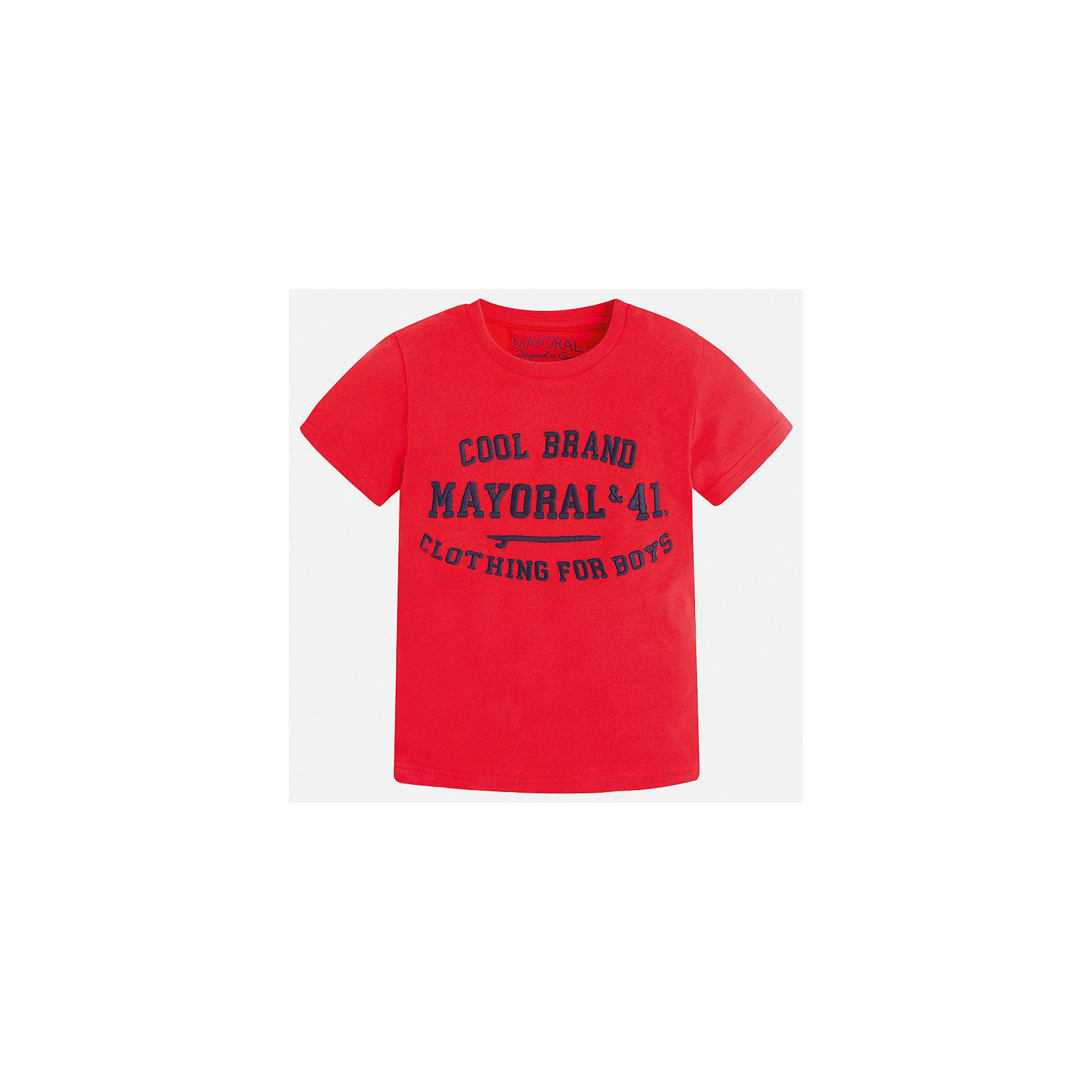 Футболка для мальчика MayoralФутболки, поло и топы<br>Характеристики товара:<br><br>• цвет: красный<br>• состав: 100% хлопок<br>• мягкая отделка ворота<br>• короткие рукава<br>• округлая горловина<br>• декорирована принтом<br>• страна бренда: Испания<br><br>Стильная удобная футболка для мальчика может стать базовой вещью в гардеробе ребенка. Она отлично сочетается с брюками, шортами, джинсами. Универсальный крой и цвет позволяет подобрать к вещи низ разных расцветок. Практичное и стильное изделие! В составе материала - только натуральный хлопок, гипоаллергенный, приятный на ощупь, дышащий.<br><br>Одежда, обувь и аксессуары от испанского бренда Mayoral полюбились детям и взрослым по всему миру. Модели этой марки - стильные и удобные. Для их производства используются только безопасные, качественные материалы и фурнитура. Порадуйте ребенка модными и красивыми вещами от Mayoral! <br><br>Футболку для мальчика от испанского бренда Mayoral (Майорал) можно купить в нашем интернет-магазине.<br><br>Ширина мм: 199<br>Глубина мм: 10<br>Высота мм: 161<br>Вес г: 151<br>Цвет: красный<br>Возраст от месяцев: 72<br>Возраст до месяцев: 84<br>Пол: Мужской<br>Возраст: Детский<br>Размер: 122,134,128,116,110,104,98,92<br>SKU: 5277821