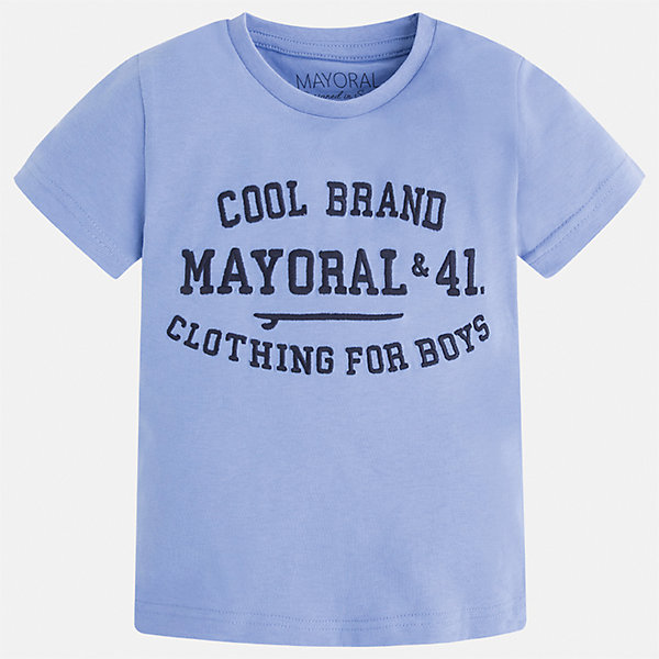 Футболка для мальчика MayoralФутболки, поло и топы<br>Характеристики товара:<br><br>• цвет: голубой<br>• состав: 100% хлопок<br>• мягкая отделка ворота<br>• короткие рукава<br>• округлая горловина<br>• декорирована принтом<br>• страна бренда: Испания<br><br>Стильная удобная футболка для мальчика может стать базовой вещью в гардеробе ребенка. Она отлично сочетается с брюками, шортами, джинсами. Универсальный крой и цвет позволяет подобрать к вещи низ разных расцветок. Практичное и стильное изделие! В составе материала - только натуральный хлопок, гипоаллергенный, приятный на ощупь, дышащий.<br><br>Одежда, обувь и аксессуары от испанского бренда Mayoral полюбились детям и взрослым по всему миру. Модели этой марки - стильные и удобные. Для их производства используются только безопасные, качественные материалы и фурнитура. Порадуйте ребенка модными и красивыми вещами от Mayoral! <br><br>Футболку для мальчика от испанского бренда Mayoral (Майорал) можно купить в нашем интернет-магазине.<br><br>Ширина мм: 199<br>Глубина мм: 10<br>Высота мм: 161<br>Вес г: 151<br>Цвет: голубой<br>Возраст от месяцев: 96<br>Возраст до месяцев: 108<br>Пол: Мужской<br>Возраст: Детский<br>Размер: 134,104,92,98,110,116,122,128<br>SKU: 5277830