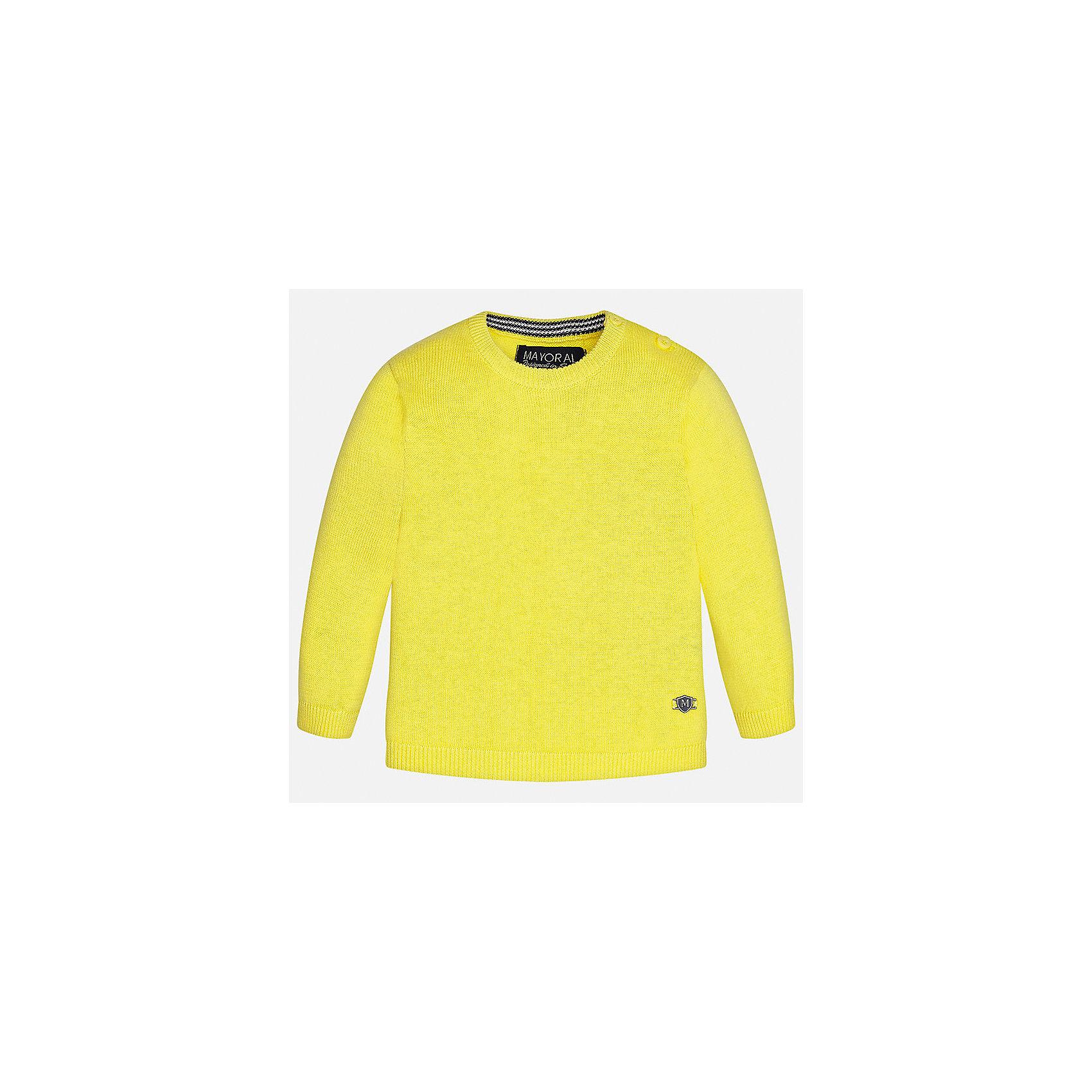 Свитер для мальчика MayoralСвитера и кардиганы<br>Характеристики товара:<br><br>• цвет: желтый<br>• состав: 100% хлопок<br>• рукава длинные <br>• пуговицы на плече<br>• округлая горловина<br>• манжеты<br>• страна бренда: Испания<br><br>Удобный и красивый свитер для мальчика поможет разнообразить гардероб ребенка и обеспечить тепло. Он отлично сочетается и с джинсами, и с брюками. Универсальный цвет позволяет подобрать к вещи низ различных расцветок. Интересная отделка модели делает её нарядной и оригинальной. В составе материала - только натуральный хлопок, гипоаллергенный, приятный на ощупь, дышащий.<br><br>Одежда, обувь и аксессуары от испанского бренда Mayoral полюбились детям и взрослым по всему миру. Модели этой марки - стильные и удобные. Для их производства используются только безопасные, качественные материалы и фурнитура. Порадуйте ребенка модными и красивыми вещами от Mayoral! <br><br>Свитер для мальчика от испанского бренда Mayoral (Майорал) можно купить в нашем интернет-магазине.<br><br>Ширина мм: 190<br>Глубина мм: 74<br>Высота мм: 229<br>Вес г: 236<br>Цвет: желтый<br>Возраст от месяцев: 6<br>Возраст до месяцев: 9<br>Пол: Мужской<br>Возраст: Детский<br>Размер: 74,80,86,92<br>SKU: 5277961
