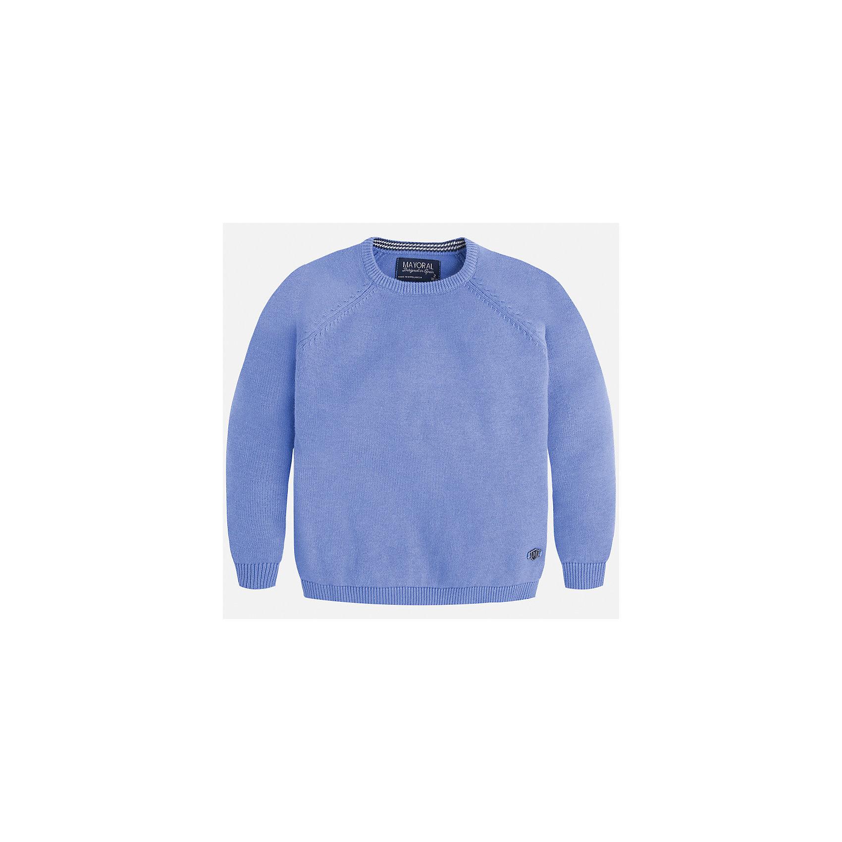 Свитер для мальчика MayoralСвитера и кардиганы<br>Характеристики товара:<br><br>• цвет: голубой<br>• состав: 60% хлопок, 30% полиэстер, 10% шерсть<br>• рукава длинные <br>• округлая горловина<br>• манжеты<br>• страна бренда: Испания<br><br>Удобный и красивый свитер для мальчика поможет разнообразить гардероб ребенка и обеспечить тепло. Он отлично сочетается и с джинсами, и с брюками. Универсальный цвет позволяет подобрать к вещи низ различных расцветок. Интересная отделка модели делает её нарядной и оригинальной. В составе материала - натуральный хлопок, гипоаллергенный, приятный на ощупь, дышащий.<br><br>Одежда, обувь и аксессуары от испанского бренда Mayoral полюбились детям и взрослым по всему миру. Модели этой марки - стильные и удобные. Для их производства используются только безопасные, качественные материалы и фурнитура. Порадуйте ребенка модными и красивыми вещами от Mayoral! <br><br>Свитер для мальчика от испанского бренда Mayoral (Майорал) можно купить в нашем интернет-магазине.<br><br>Ширина мм: 190<br>Глубина мм: 74<br>Высота мм: 229<br>Вес г: 236<br>Цвет: голубой<br>Возраст от месяцев: 72<br>Возраст до месяцев: 84<br>Пол: Мужской<br>Возраст: Детский<br>Размер: 122,104,116,110,134,128,98,92<br>SKU: 5277970