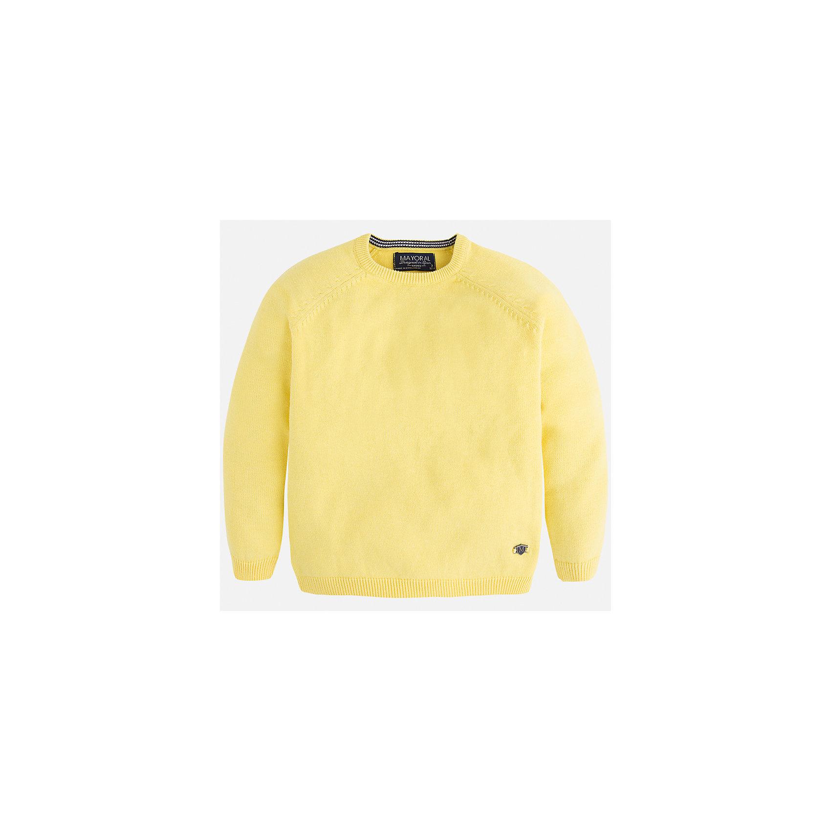 Свитер для мальчика MayoralСвитера и кардиганы<br>Характеристики товара:<br><br>• цвет: жёлтый<br>• состав: 60% хлопок, 30% полиэстер, 10% шерсть<br>• рукава длинные <br>• вышивка на груди<br>• округлая горловина<br>• манжеты<br>• страна бренда: Испания<br><br>Удобный и красивый свитер для мальчика поможет разнообразить гардероб ребенка и обеспечить тепло. Он отлично сочетается и с джинсами, и с брюками. Интересная отделка модели делает её нарядной и оригинальной. В составе материала - натуральный хлопок, гипоаллергенный, приятный на ощупь, дышащий.<br><br>Свитер для мальчика от испанского бренда Mayoral (Майорал) можно купить в нашем интернет-магазине.<br><br>Ширина мм: 190<br>Глубина мм: 74<br>Высота мм: 229<br>Вес г: 236<br>Цвет: желтый<br>Возраст от месяцев: 18<br>Возраст до месяцев: 24<br>Пол: Мужской<br>Возраст: Детский<br>Размер: 92,110,98,104,116,122,128,134<br>SKU: 5277988