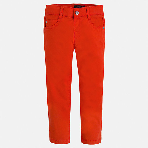 Брюки для мальчика MayoralБрюки<br>Характеристики товара:<br><br>• цвет: красный<br>• состав: 98% хлопок, 2% эластан<br>• застежка: кнопка<br>• шлевки<br>• карманы<br>• пояс с регулировкой размера<br>• классический силуэт<br>• страна бренда: Испания<br><br>Модные брюки для мальчика смогут стать базовой вещью в гардеробе ребенка. Они отлично сочетаются с майками, футболками, рубашками и т.д. Универсальный крой и цвет позволяет подобрать к вещи верх разных расцветок. Практичное и стильное изделие! В составе материала - натуральный хлопок, гипоаллергенный, приятный на ощупь, дышащий.<br><br>Одежда, обувь и аксессуары от испанского бренда Mayoral полюбились детям и взрослым по всему миру. Модели этой марки - стильные и удобные. Для их производства используются только безопасные, качественные материалы и фурнитура. Порадуйте ребенка модными и красивыми вещами от Mayoral! <br><br>Брюки для мальчика от испанского бренда Mayoral (Майорал) можно купить в нашем интернет-магазине.<br>Ширина мм: 215; Глубина мм: 88; Высота мм: 191; Вес г: 336; Цвет: красный; Возраст от месяцев: 72; Возраст до месяцев: 84; Пол: Мужской; Возраст: Детский; Размер: 122,104,110,116,92,98,134,128; SKU: 5278053;