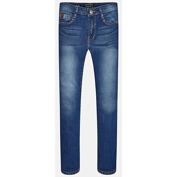 Джинсы для мальчика MayoralДжинсовая одежда<br>Характеристики товара:<br><br>• цвет: синий<br>• состав: 97% хлопок, 3% эластан<br>• эффект потертости<br>• карманы<br>• пояс с регулировкой объема<br>• шлевки<br>• страна бренда: Испания<br><br>Стильные джинсы для мальчика смогут разнообразить гардероб ребенка и украсить наряд. Они отлично сочетаются с майками, футболками, блузками. Красивый оттенок позволяет подобрать к вещи верх разных расцветок. Интересный крой модели делает её нарядной и оригинальной. В составе материала - натуральный хлопок, гипоаллергенный, приятный на ощупь, дышащий.<br><br>Одежда, обувь и аксессуары от испанского бренда Mayoral полюбились детям и взрослым по всему миру. Модели этой марки - стильные и удобные. Для их производства используются только безопасные, качественные материалы и фурнитура. Порадуйте ребенка модными и красивыми вещами от Mayoral! <br><br>Джинсы для мальчика от испанского бренда Mayoral (Майорал) можно купить в нашем интернет-магазине.<br>Ширина мм: 215; Глубина мм: 88; Высота мм: 191; Вес г: 336; Цвет: синий; Возраст от месяцев: 144; Возраст до месяцев: 156; Пол: Мужской; Возраст: Детский; Размер: 164,170,158,140,152,128/134; SKU: 5278148;
