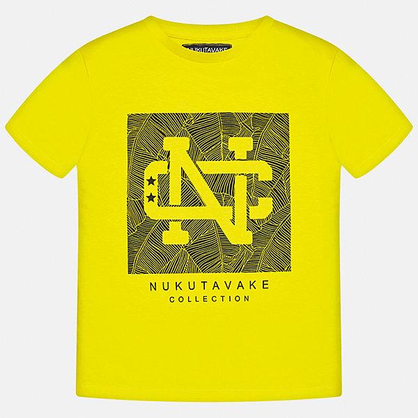 Футболка для мальчика MayoralФутболки, поло и топы<br>Характеристики товара:<br><br>• цвет: желтый<br>• состав: 100% хлопок<br>• круглый горловой вырез<br>• декорирована принтом<br>• короткие рукава<br>• отделка горловины<br>• страна бренда: Испания<br><br>Стильная удобная футболка с принтом поможет разнообразить гардероб мальчика. Она отлично сочетается с брюками, шортами, джинсами. Универсальный крой и цвет позволяет подобрать к вещи низ разных расцветок. Практичное и стильное изделие! Хорошо смотрится и комфортно сидит на детях. В составе материала - натуральный хлопок, гипоаллергенный, приятный на ощупь, дышащий. <br><br>Одежда, обувь и аксессуары от испанского бренда Mayoral полюбились детям и взрослым по всему миру. Модели этой марки - стильные и удобные. Для их производства используются только безопасные, качественные материалы и фурнитура. Порадуйте ребенка модными и красивыми вещами от Mayoral! <br><br>Футболку для мальчика от испанского бренда Mayoral (Майорал) можно купить в нашем интернет-магазине.<br>Ширина мм: 199; Глубина мм: 10; Высота мм: 161; Вес г: 151; Цвет: желтый; Возраст от месяцев: 84; Возраст до месяцев: 96; Пол: Мужской; Возраст: Детский; Размер: 128/134,158,152,140,170,164; SKU: 5278272;