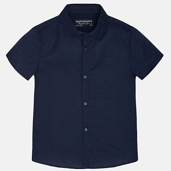 Рубашка для мальчика MayoralБлузки и рубашки<br>Характеристики товара:<br><br>• цвет: темно-синий<br>• состав: 70% хлопок, 30% лен<br>• отложной воротник<br>• короткие рукава<br>• застежка: пуговицы<br>• прямой силуэт<br>• страна бренда: Испания<br><br>Удобная рубашка классического кроя для мальчика может стать базовой вещью в гардеробе ребенка. Она отлично сочетается с брюками, шортами, джинсами и т.д. Универсальный крой и цвет позволяет подобрать к вещи низ разных расцветок. Практичное и стильное изделие! В составе материала - натуральный хлопок, гипоаллергенный, приятный на ощупь, дышащий.<br><br>Одежда, обувь и аксессуары от испанского бренда Mayoral полюбились детям и взрослым по всему миру. Модели этой марки - стильные и удобные. Для их производства используются только безопасные, качественные материалы и фурнитура. Порадуйте ребенка модными и красивыми вещами от Mayoral! <br><br>Рубашку для мальчика от испанского бренда Mayoral (Майорал) можно купить в нашем интернет-магазине.<br><br>Ширина мм: 174<br>Глубина мм: 10<br>Высота мм: 169<br>Вес г: 157<br>Цвет: синий<br>Возраст от месяцев: 96<br>Возраст до месяцев: 108<br>Пол: Мужской<br>Возраст: Детский<br>Размер: 164,170,128/134,152,158,140<br>SKU: 5278300