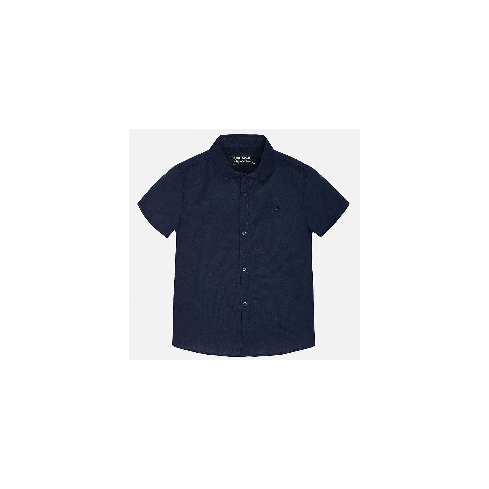 Рубашка для мальчика MayoralБлузки и рубашки<br>Характеристики товара:<br><br>• цвет: темно-синий<br>• состав: 70% хлопок, 30% лен<br>• отложной воротник<br>• короткие рукава<br>• застежка: пуговицы<br>• прямой силуэт<br>• страна бренда: Испания<br><br>Удобная рубашка классического кроя для мальчика может стать базовой вещью в гардеробе ребенка. Она отлично сочетается с брюками, шортами, джинсами и т.д. Универсальный крой и цвет позволяет подобрать к вещи низ разных расцветок. Практичное и стильное изделие! В составе материала - натуральный хлопок, гипоаллергенный, приятный на ощупь, дышащий.<br><br>Одежда, обувь и аксессуары от испанского бренда Mayoral полюбились детям и взрослым по всему миру. Модели этой марки - стильные и удобные. Для их производства используются только безопасные, качественные материалы и фурнитура. Порадуйте ребенка модными и красивыми вещами от Mayoral! <br><br>Рубашку для мальчика от испанского бренда Mayoral (Майорал) можно купить в нашем интернет-магазине.<br><br>Ширина мм: 174<br>Глубина мм: 10<br>Высота мм: 169<br>Вес г: 157<br>Цвет: синий<br>Возраст от месяцев: 144<br>Возраст до месяцев: 156<br>Пол: Мужской<br>Возраст: Детский<br>Размер: 164,140,158,152,128/134,170<br>SKU: 5278300