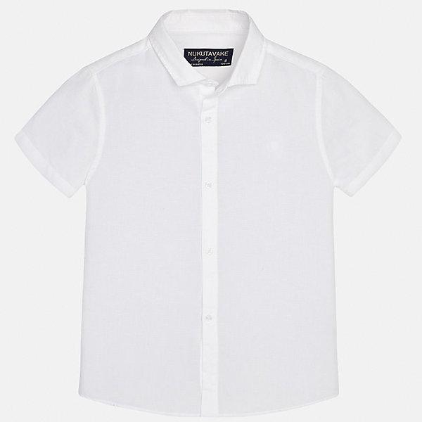 Рубашка для мальчика MayoralБлузки и рубашки<br>Характеристики товара:<br><br>• цвет: белый<br>• состав: 70% хлопок, 30% лен<br>• отложной воротник<br>• короткие рукава<br>• застежка: пуговицы<br>• прямой силуэт<br>• страна бренда: Испания<br><br>Удобная рубашка классического кроя для мальчика может стать базовой вещью в гардеробе ребенка. Она отлично сочетается с брюками, шортами, джинсами и т.д. Универсальный крой и цвет позволяет подобрать к вещи низ разных расцветок. Практичное и стильное изделие! В составе материала - натуральный хлопок, гипоаллергенный, приятный на ощупь, дышащий.<br><br>Одежда, обувь и аксессуары от испанского бренда Mayoral полюбились детям и взрослым по всему миру. Модели этой марки - стильные и удобные. Для их производства используются только безопасные, качественные материалы и фурнитура. Порадуйте ребенка модными и красивыми вещами от Mayoral! <br><br>Рубашку для мальчика от испанского бренда Mayoral (Майорал) можно купить в нашем интернет-магазине.<br>Ширина мм: 174; Глубина мм: 10; Высота мм: 169; Вес г: 157; Цвет: белый; Возраст от месяцев: 132; Возраст до месяцев: 144; Пол: Мужской; Возраст: Детский; Размер: 158,140,164,152,170,128/134; SKU: 5278307;