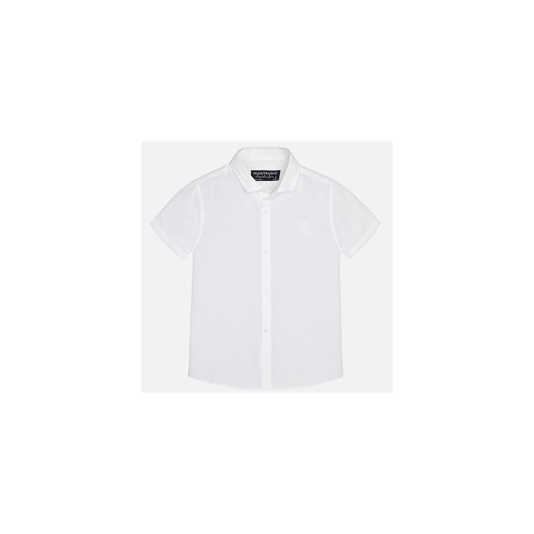 Рубашка для мальчика MayoralХарактеристики товара:<br><br>• цвет: белый<br>• состав: 70% хлопок, 30% лен<br>• отложной воротник<br>• короткие рукава<br>• застежка: пуговицы<br>• прямой силуэт<br>• страна бренда: Испания<br><br>Удобная рубашка классического кроя для мальчика может стать базовой вещью в гардеробе ребенка. Она отлично сочетается с брюками, шортами, джинсами и т.д. Универсальный крой и цвет позволяет подобрать к вещи низ разных расцветок. Практичное и стильное изделие! В составе материала - натуральный хлопок, гипоаллергенный, приятный на ощупь, дышащий.<br><br>Одежда, обувь и аксессуары от испанского бренда Mayoral полюбились детям и взрослым по всему миру. Модели этой марки - стильные и удобные. Для их производства используются только безопасные, качественные материалы и фурнитура. Порадуйте ребенка модными и красивыми вещами от Mayoral! <br><br>Рубашку для мальчика от испанского бренда Mayoral (Майорал) можно купить в нашем интернет-магазине.<br><br>Ширина мм: 174<br>Глубина мм: 10<br>Высота мм: 169<br>Вес г: 157<br>Цвет: белый<br>Возраст от месяцев: 120<br>Возраст до месяцев: 132<br>Пол: Мужской<br>Возраст: Детский<br>Размер: 152,164,158,140,128/134,170<br>SKU: 5278307