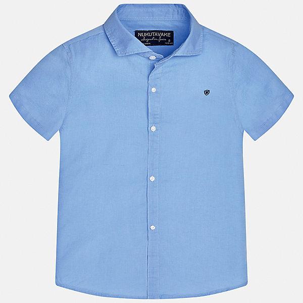 Рубашка для мальчика MayoralБлузки и рубашки<br>Характеристики товара:<br><br>• цвет: голубой<br>• состав: 70% хлопок, 30% лен<br>• отложной воротник<br>• короткие рукава<br>• застежка: пуговицы<br>• прямой силуэт<br>• страна бренда: Испания<br><br>Удобная рубашка классического кроя для мальчика может стать базовой вещью в гардеробе ребенка. Она отлично сочетается с брюками, шортами, джинсами и т.д. Универсальный крой и цвет позволяет подобрать к вещи низ разных расцветок. Практичное и стильное изделие! В составе материала - натуральный хлопок, гипоаллергенный, приятный на ощупь, дышащий.<br><br>Одежда, обувь и аксессуары от испанского бренда Mayoral полюбились детям и взрослым по всему миру. Модели этой марки - стильные и удобные. Для их производства используются только безопасные, качественные материалы и фурнитура. Порадуйте ребенка модными и красивыми вещами от Mayoral! <br><br>Рубашку для мальчика от испанского бренда Mayoral (Майорал) можно купить в нашем интернет-магазине.<br><br>Ширина мм: 174<br>Глубина мм: 10<br>Высота мм: 169<br>Вес г: 157<br>Цвет: голубой<br>Возраст от месяцев: 144<br>Возраст до месяцев: 156<br>Пол: Мужской<br>Возраст: Детский<br>Размер: 164,140,158,152,128/134,170<br>SKU: 5278314