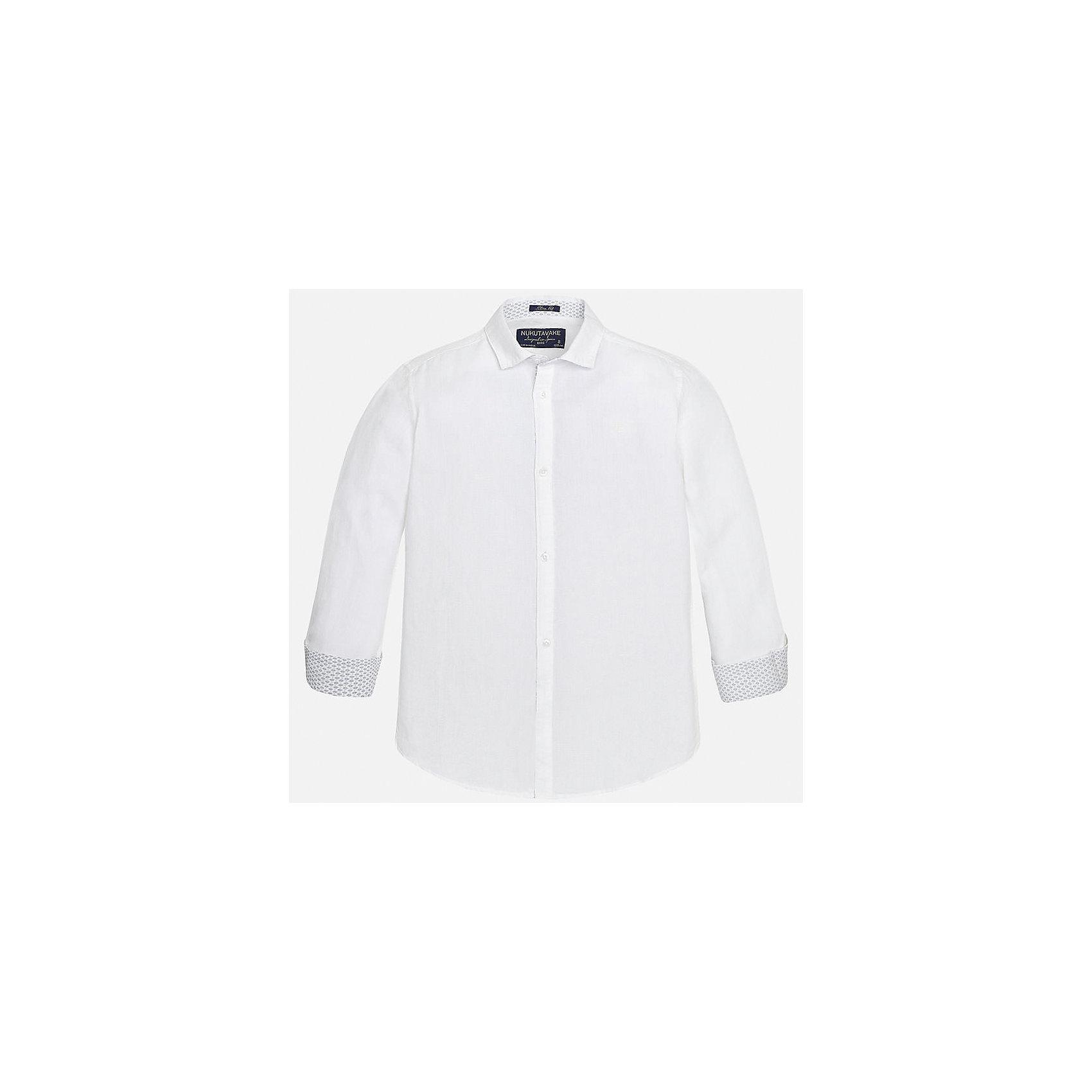 Рубашка для мальчика MayoralБлузки и рубашки<br>Характеристики товара:<br><br>• цвет: белый<br>• состав: 70% хлопок, 30% лен<br>• отложной воротник<br>• рукава с отворотами<br>• застежка: пуговицы<br>• прямой силуэт<br>• страна бренда: Испания<br><br>Удобная рубашка классического кроя для мальчика может стать базовой вещью в гардеробе ребенка. Она отлично сочетается с брюками, шортами, джинсами и т.д. Универсальный крой и цвет позволяет подобрать к вещи низ разных расцветок. Практичное и стильное изделие! В составе материала - натуральный хлопок, гипоаллергенный, приятный на ощупь, дышащий.<br><br>Одежда, обувь и аксессуары от испанского бренда Mayoral полюбились детям и взрослым по всему миру. Модели этой марки - стильные и удобные. Для их производства используются только безопасные, качественные материалы и фурнитура. Порадуйте ребенка модными и красивыми вещами от Mayoral! <br><br>Рубашку для мальчика от испанского бренда Mayoral (Майорал) можно купить в нашем интернет-магазине.<br><br>Ширина мм: 174<br>Глубина мм: 10<br>Высота мм: 169<br>Вес г: 157<br>Цвет: белый<br>Возраст от месяцев: 84<br>Возраст до месяцев: 96<br>Пол: Мужской<br>Возраст: Детский<br>Размер: 128/134,170,164,158,152,140<br>SKU: 5278321