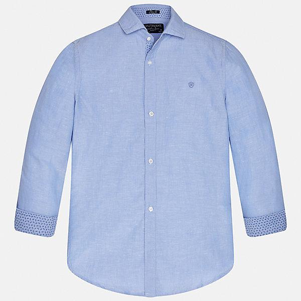Рубашка для мальчика MayoralБлузки и рубашки<br>Характеристики товара:<br><br>• цвет: голубой<br>• состав: 70% хлопок, 30% лен<br>• отложной воротник<br>• рукава с отворотами<br>• застежка: пуговицы<br>• прямой силуэт<br>• страна бренда: Испания<br><br>Удобная рубашка классического кроя для мальчика может стать базовой вещью в гардеробе ребенка. Она отлично сочетается с брюками, шортами, джинсами и т.д. Практичное и стильное изделие! В составе материала - натуральный хлопок, гипоаллергенный, приятный на ощупь, дышащий.<br><br>Рубашку для мальчика от испанского бренда Mayoral (Майорал) можно купить в нашем интернет-магазине.<br><br>Ширина мм: 174<br>Глубина мм: 10<br>Высота мм: 169<br>Вес г: 157<br>Цвет: белый<br>Возраст от месяцев: 144<br>Возраст до месяцев: 156<br>Пол: Мужской<br>Возраст: Детский<br>Размер: 164,128/134,170,158,152,140<br>SKU: 5278328