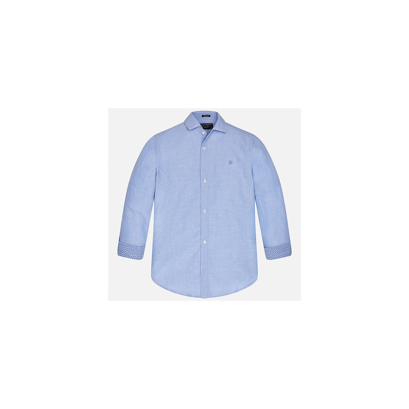 Рубашка для мальчика MayoralБлузки и рубашки<br>Характеристики товара:<br><br>• цвет: голубой<br>• состав: 70% хлопок, 30% лен<br>• отложной воротник<br>• рукава с отворотами<br>• застежка: пуговицы<br>• прямой силуэт<br>• страна бренда: Испания<br><br>Удобная рубашка классического кроя для мальчика может стать базовой вещью в гардеробе ребенка. Она отлично сочетается с брюками, шортами, джинсами и т.д. Практичное и стильное изделие! В составе материала - натуральный хлопок, гипоаллергенный, приятный на ощупь, дышащий.<br><br>Рубашку для мальчика от испанского бренда Mayoral (Майорал) можно купить в нашем интернет-магазине.<br><br>Ширина мм: 174<br>Глубина мм: 10<br>Высота мм: 169<br>Вес г: 157<br>Цвет: белый<br>Возраст от месяцев: 84<br>Возраст до месяцев: 96<br>Пол: Мужской<br>Возраст: Детский<br>Размер: 128/134,170,164,158,152,140<br>SKU: 5278328