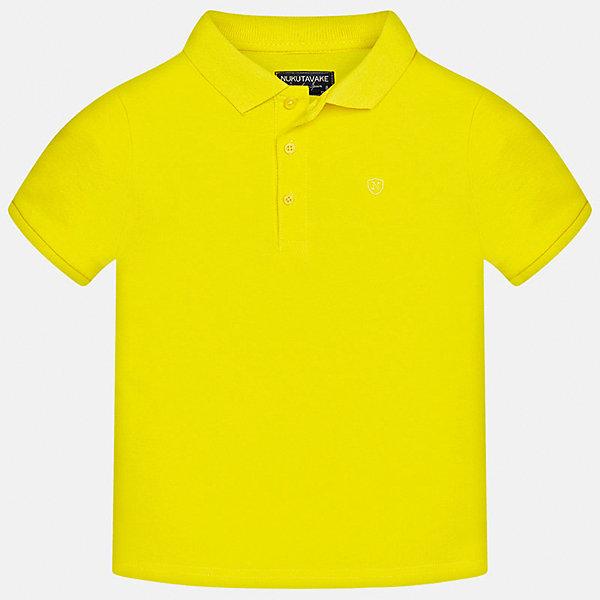 Футболка-поло для мальчика MayoralФутболки, поло и топы<br>Характеристики товара:<br><br>• цвет: желтый<br>• состав: 100% хлопок<br>• отложной воротник<br>• короткие рукава<br>• застежка: пуговицы<br>• страна бренда: Испания<br><br>Удобная и модная футболка-поло для мальчика может стать базовой вещью в гардеробе ребенка. Она отлично сочетается с брюками, шортами, джинсами и т.д. Универсальный крой и цвет позволяет подобрать к вещи низ разных расцветок. Практичное и стильное изделие! В составе материала - только натуральный хлопок, гипоаллергенный, приятный на ощупь, дышащий.<br><br>Одежда, обувь и аксессуары от испанского бренда Mayoral полюбились детям и взрослым по всему миру. Модели этой марки - стильные и удобные. Для их производства используются только безопасные, качественные материалы и фурнитура. Порадуйте ребенка модными и красивыми вещами от Mayoral! <br><br>Футболку-поло для мальчика от испанского бренда Mayoral (Майорал) можно купить в нашем интернет-магазине.<br><br>Ширина мм: 230<br>Глубина мм: 40<br>Высота мм: 220<br>Вес г: 250<br>Цвет: желтый<br>Возраст от месяцев: 84<br>Возраст до месяцев: 96<br>Пол: Мужской<br>Возраст: Детский<br>Размер: 128/134,164,170,140,152,158<br>SKU: 5278335