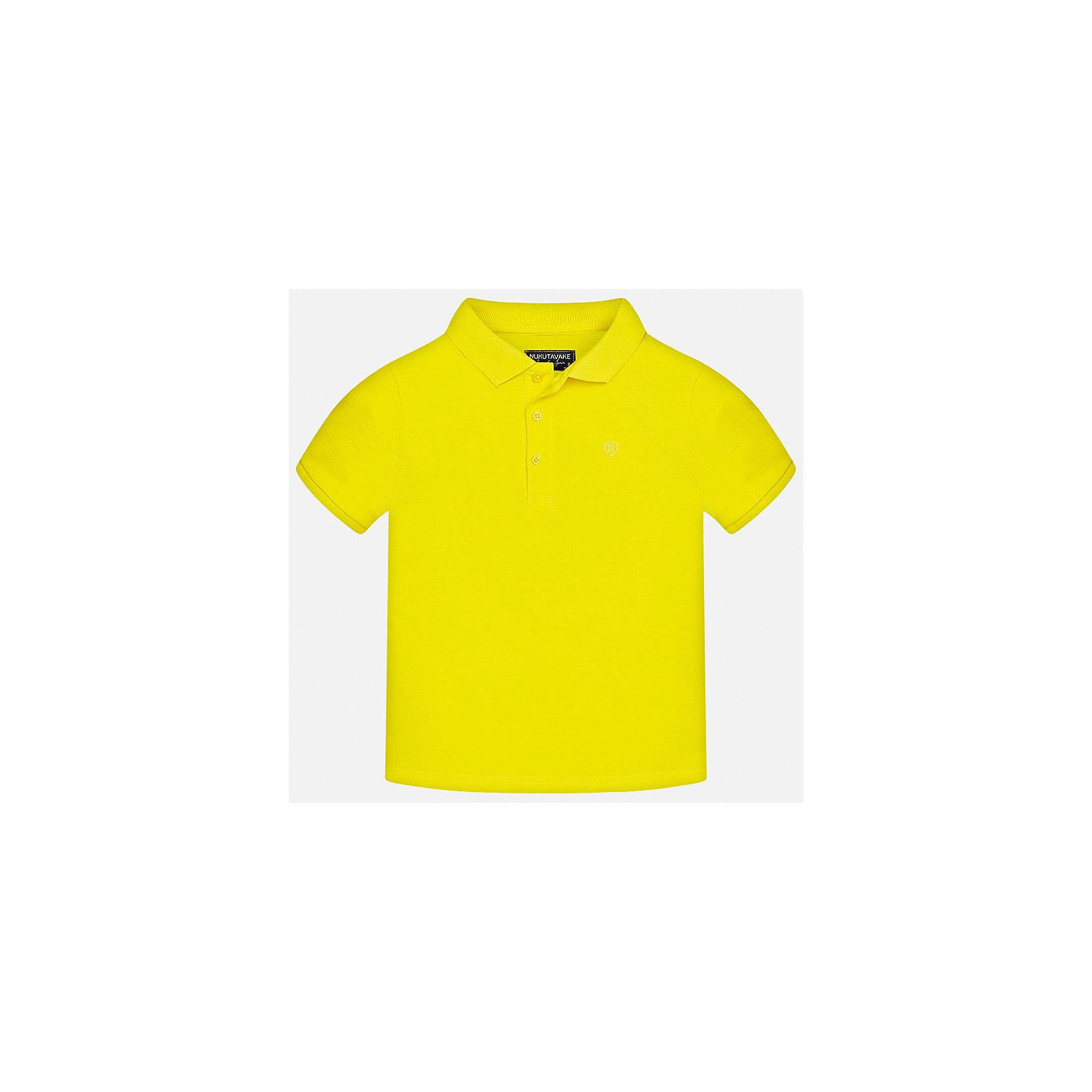 Футболка-поло для мальчика MayoralФутболки, поло и топы<br>Характеристики товара:<br><br>• цвет: желтый<br>• состав: 100% хлопок<br>• отложной воротник<br>• короткие рукава<br>• застежка: пуговицы<br>• страна бренда: Испания<br><br>Удобная и модная футболка-поло для мальчика может стать базовой вещью в гардеробе ребенка. Она отлично сочетается с брюками, шортами, джинсами и т.д. Универсальный крой и цвет позволяет подобрать к вещи низ разных расцветок. Практичное и стильное изделие! В составе материала - только натуральный хлопок, гипоаллергенный, приятный на ощупь, дышащий.<br><br>Одежда, обувь и аксессуары от испанского бренда Mayoral полюбились детям и взрослым по всему миру. Модели этой марки - стильные и удобные. Для их производства используются только безопасные, качественные материалы и фурнитура. Порадуйте ребенка модными и красивыми вещами от Mayoral! <br><br>Футболку-поло для мальчика от испанского бренда Mayoral (Майорал) можно купить в нашем интернет-магазине.<br><br>Ширина мм: 230<br>Глубина мм: 40<br>Высота мм: 220<br>Вес г: 250<br>Цвет: желтый<br>Возраст от месяцев: 120<br>Возраст до месяцев: 132<br>Пол: Мужской<br>Возраст: Детский<br>Размер: 152,158,140,170,128/134,164<br>SKU: 5278335