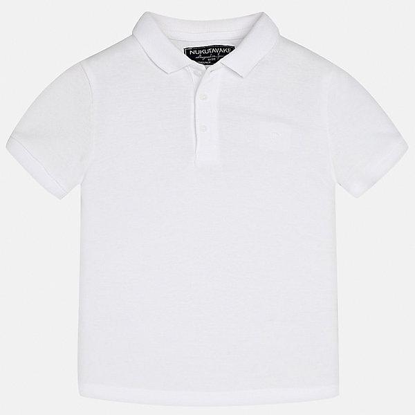 Футболка-поло для мальчика MayoralФутболки, поло и топы<br>Характеристики товара:<br><br>• цвет: белый<br>• состав: 100% хлопок<br>• отложной воротник<br>• короткие рукава<br>• застежка: пуговицы<br>• страна бренда: Испания<br><br>Удобная и модная футболка-поло для мальчика может стать базовой вещью в гардеробе ребенка. Она отлично сочетается с брюками, шортами, джинсами и т.д. Универсальный крой и цвет позволяет подобрать к вещи низ разных расцветок. Практичное и стильное изделие! В составе материала - только натуральный хлопок, гипоаллергенный, приятный на ощупь, дышащий.<br><br>Одежда, обувь и аксессуары от испанского бренда Mayoral полюбились детям и взрослым по всему миру. Модели этой марки - стильные и удобные. Для их производства используются только безопасные, качественные материалы и фурнитура. Порадуйте ребенка модными и красивыми вещами от Mayoral! <br><br>Футболку-поло для мальчика от испанского бренда Mayoral (Майорал) можно купить в нашем интернет-магазине.<br><br>Ширина мм: 230<br>Глубина мм: 40<br>Высота мм: 220<br>Вес г: 250<br>Цвет: белый<br>Возраст от месяцев: 132<br>Возраст до месяцев: 144<br>Пол: Мужской<br>Возраст: Детский<br>Размер: 158,140,170,164,152,128/134<br>SKU: 5278349